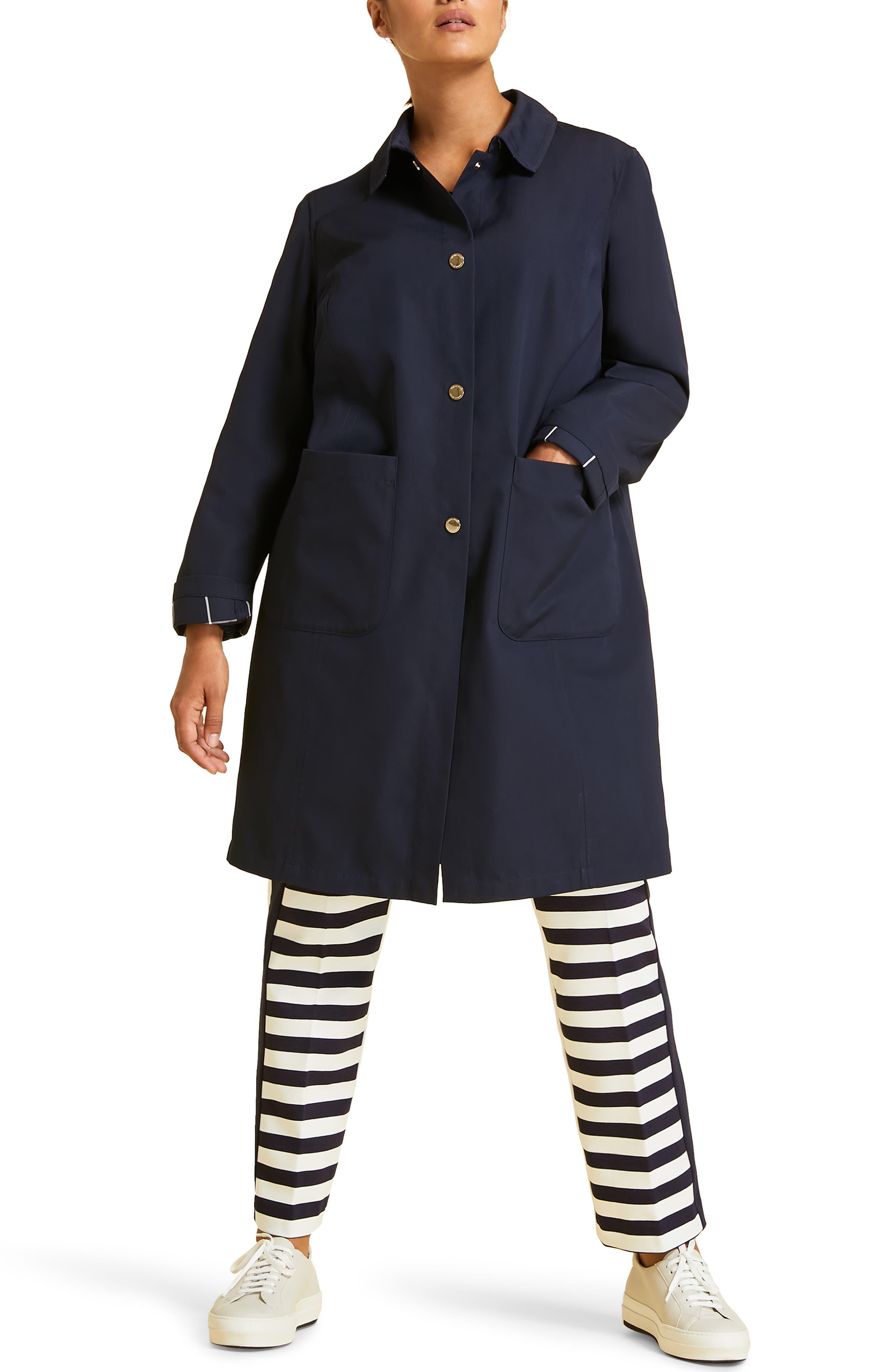 Tabella Reversible Raincoat,                             Main thumbnail 1, color,                             NAVY BLUE