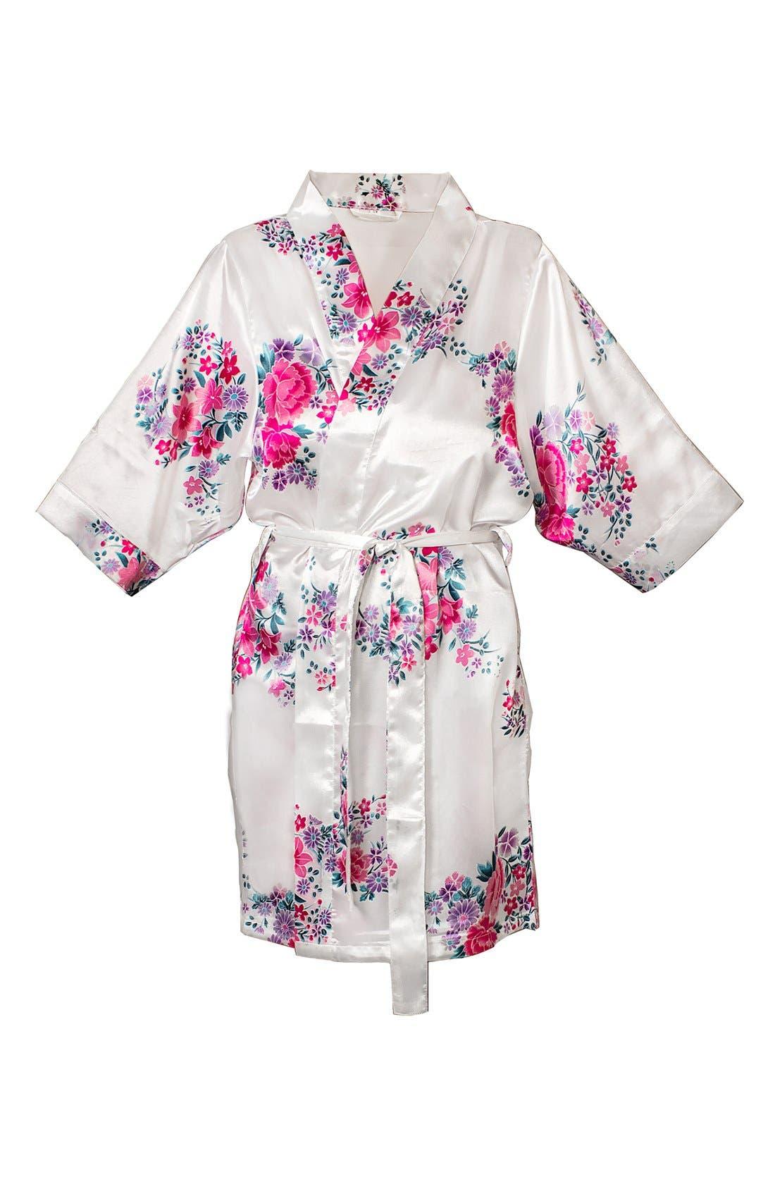 Monogram Floral Satin Robe,                             Main thumbnail 28, color,