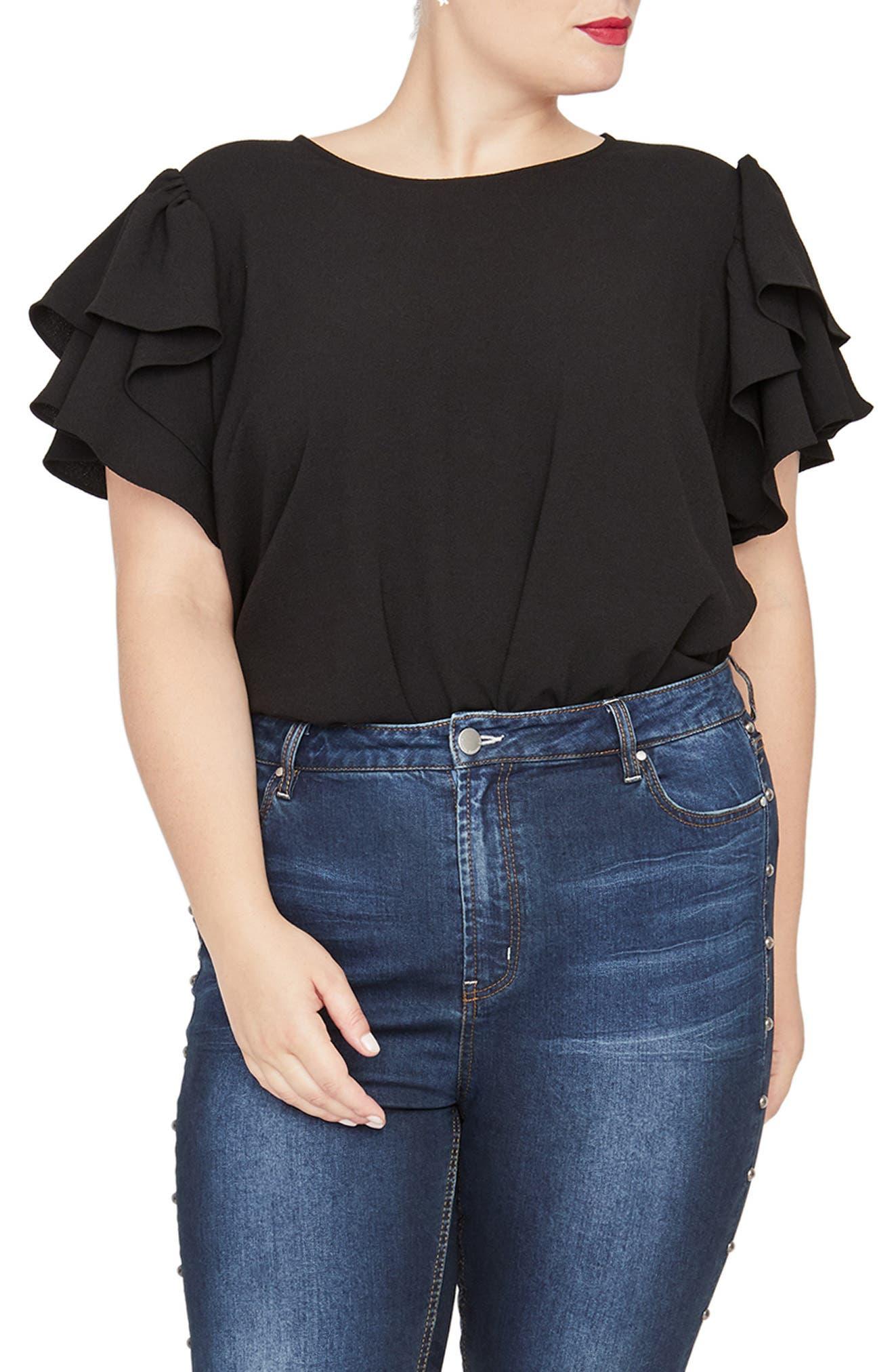 Camelia Ruffle Sleeve Top,                         Main,                         color, BLACK