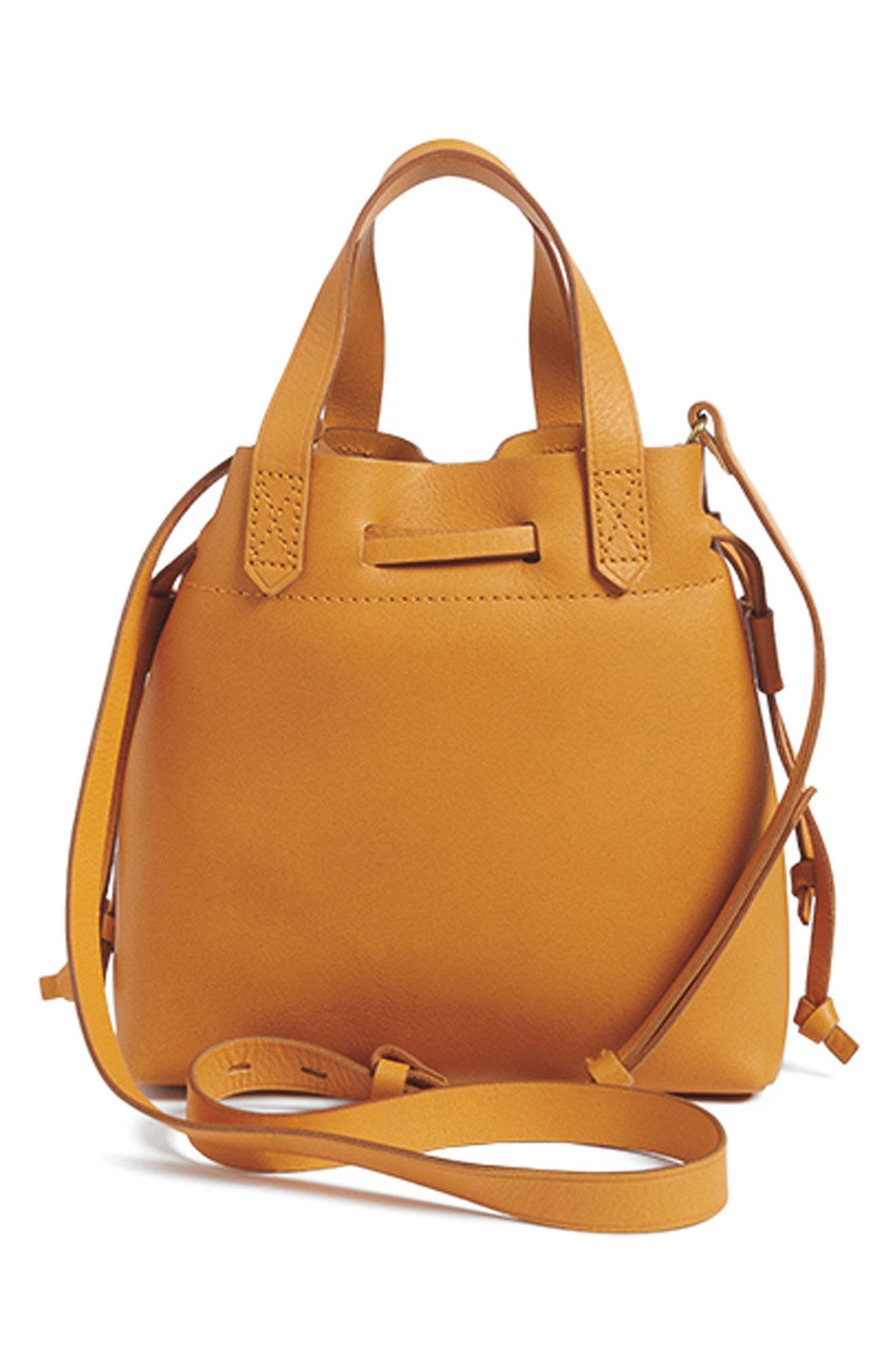 The Mini Pocket Transport Leather Drawstring Tote,                             Alternate thumbnail 7, color,                             STONEWALL