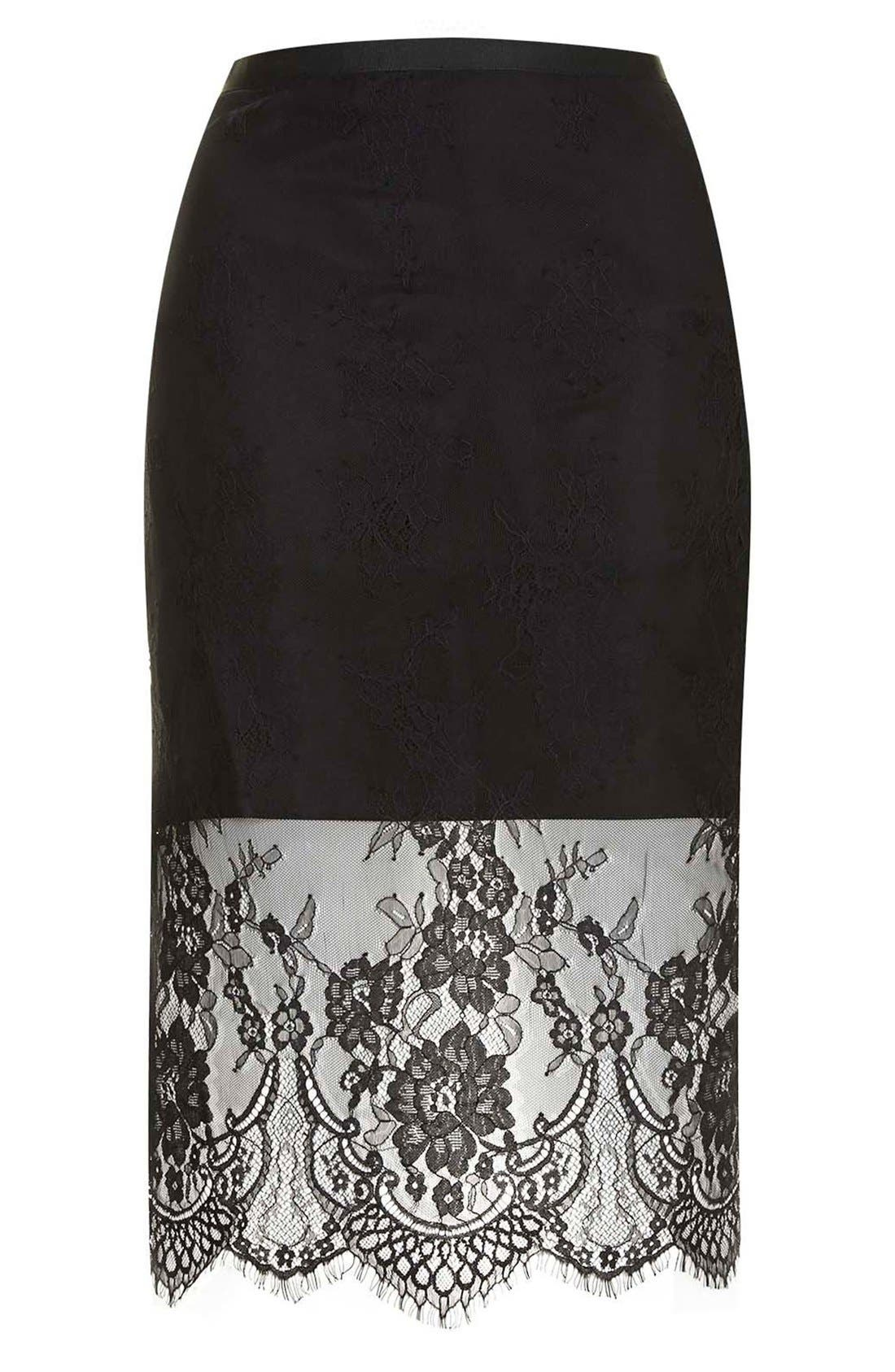 TOPSHOP,                             Lace Overlay Pencil Skirt,                             Alternate thumbnail 3, color,                             001
