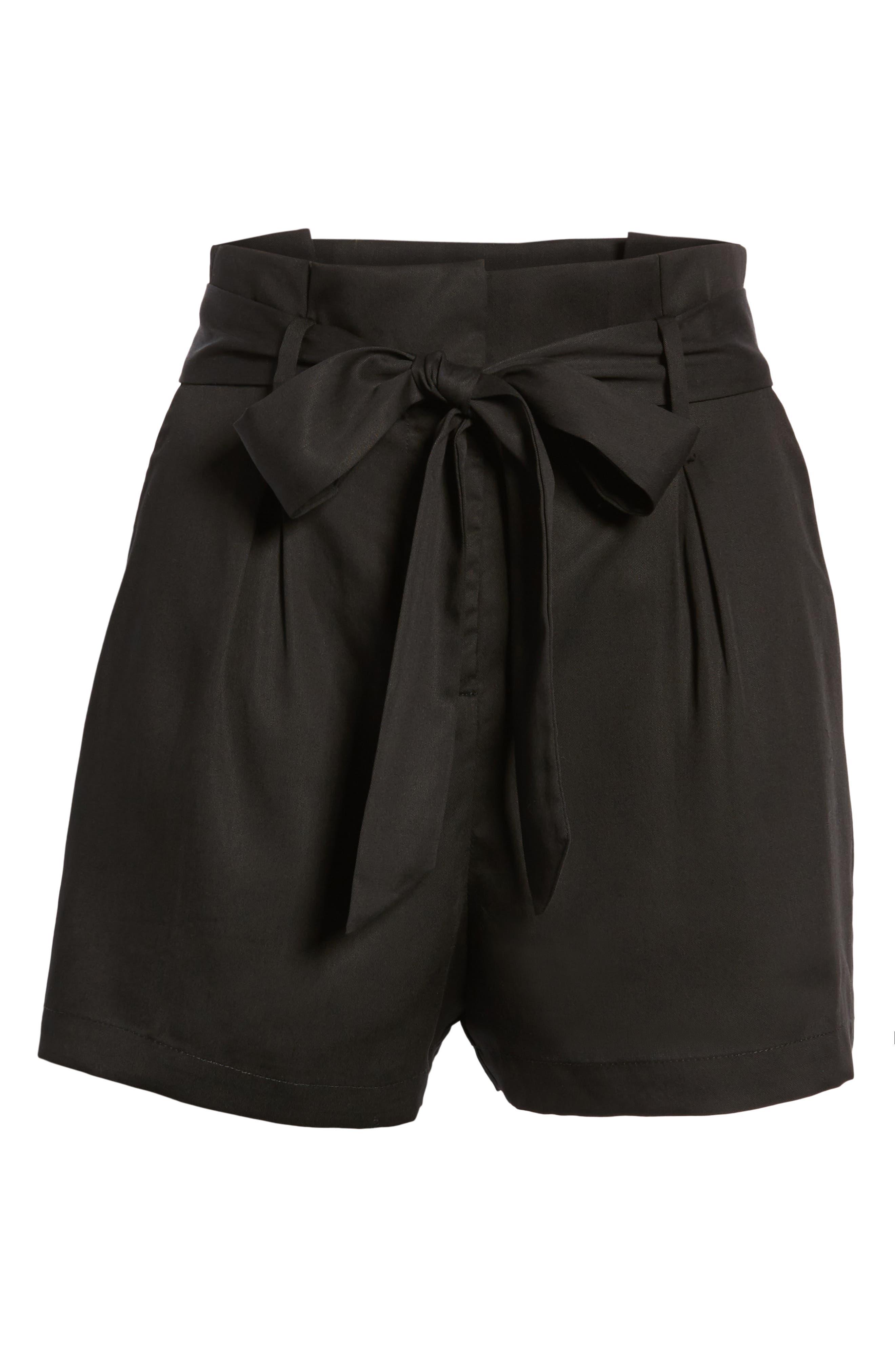 Tie Front Shorts,                             Alternate thumbnail 7, color,                             BLACK