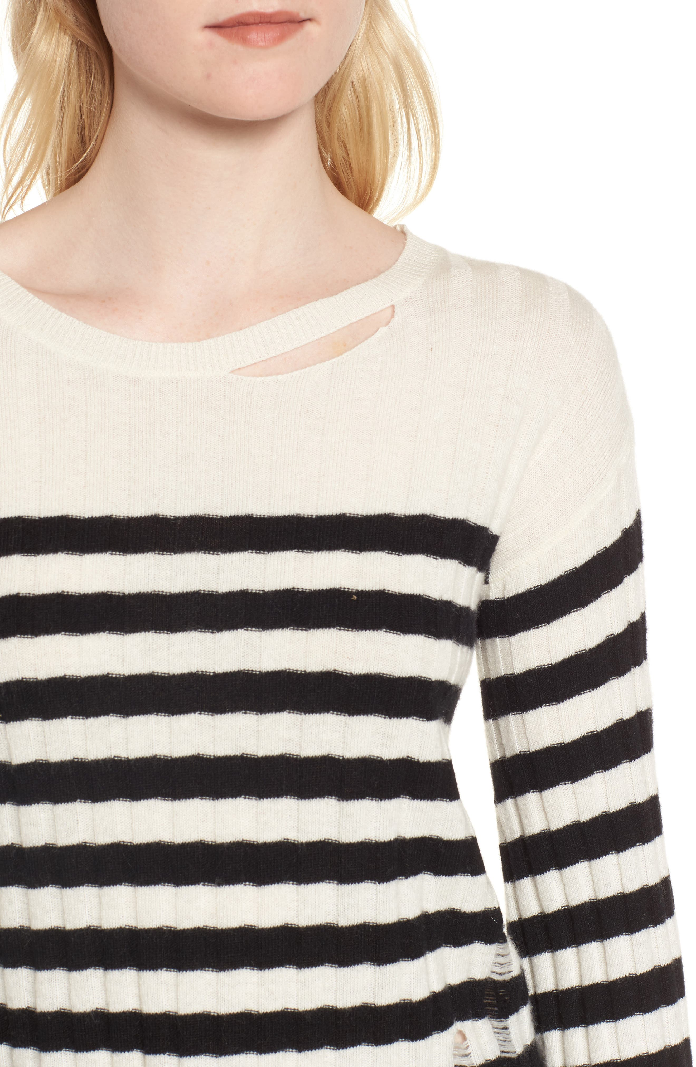 Destroyed Stripe Sweater,                             Alternate thumbnail 4, color,                             004