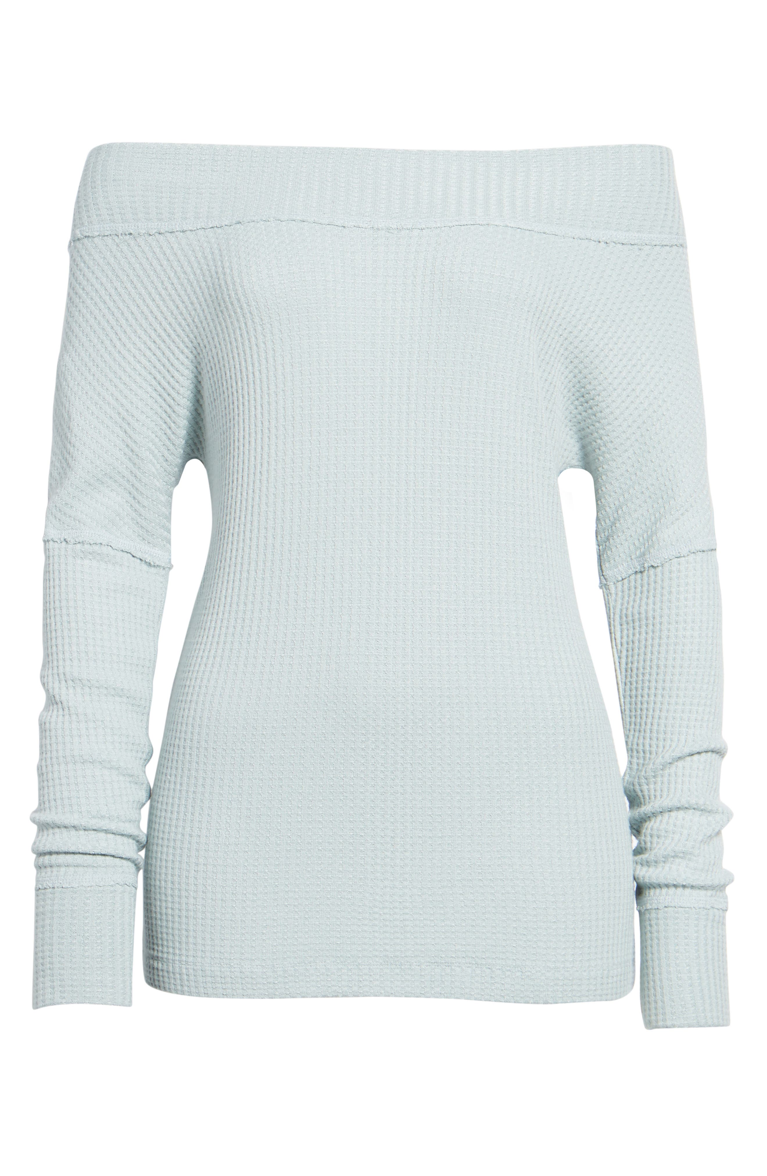 Off the Shoulder Thermal Knit Top,                             Alternate thumbnail 6, color,                             430