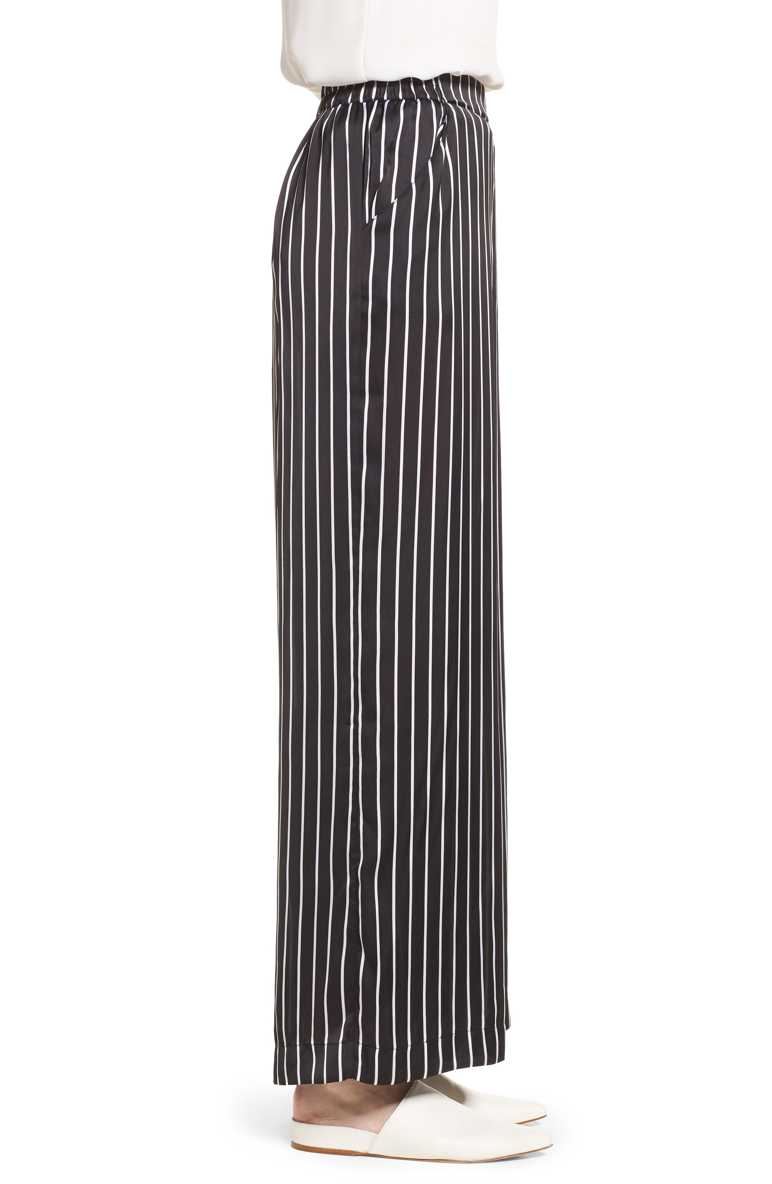 Kenneth Cole Wide Leg Pants,                             Alternate thumbnail 3, color,                             STREET STRIPE BLACK