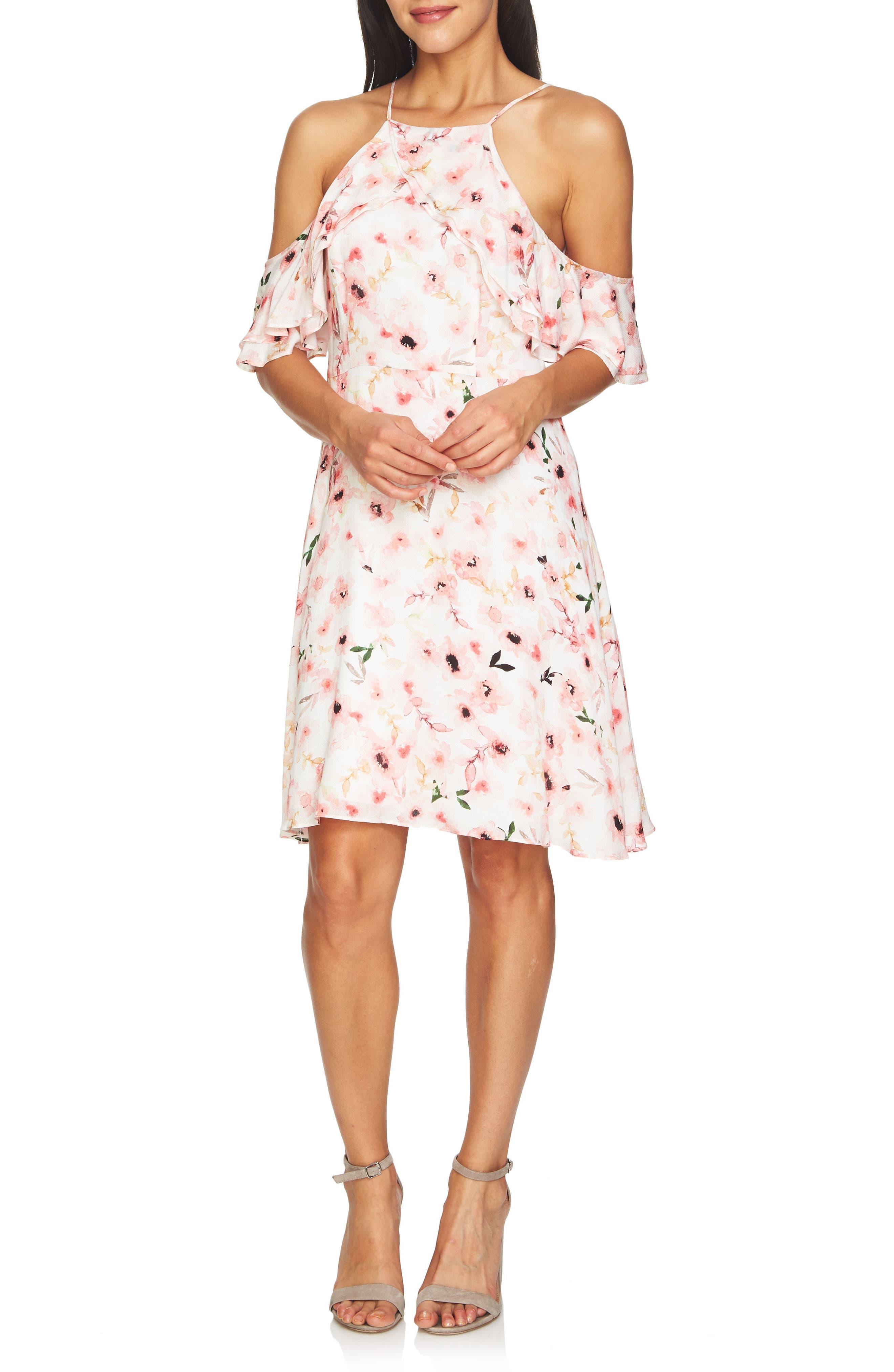 Arden Cold Shoulder Ruffle Dress,                             Main thumbnail 1, color,                             145