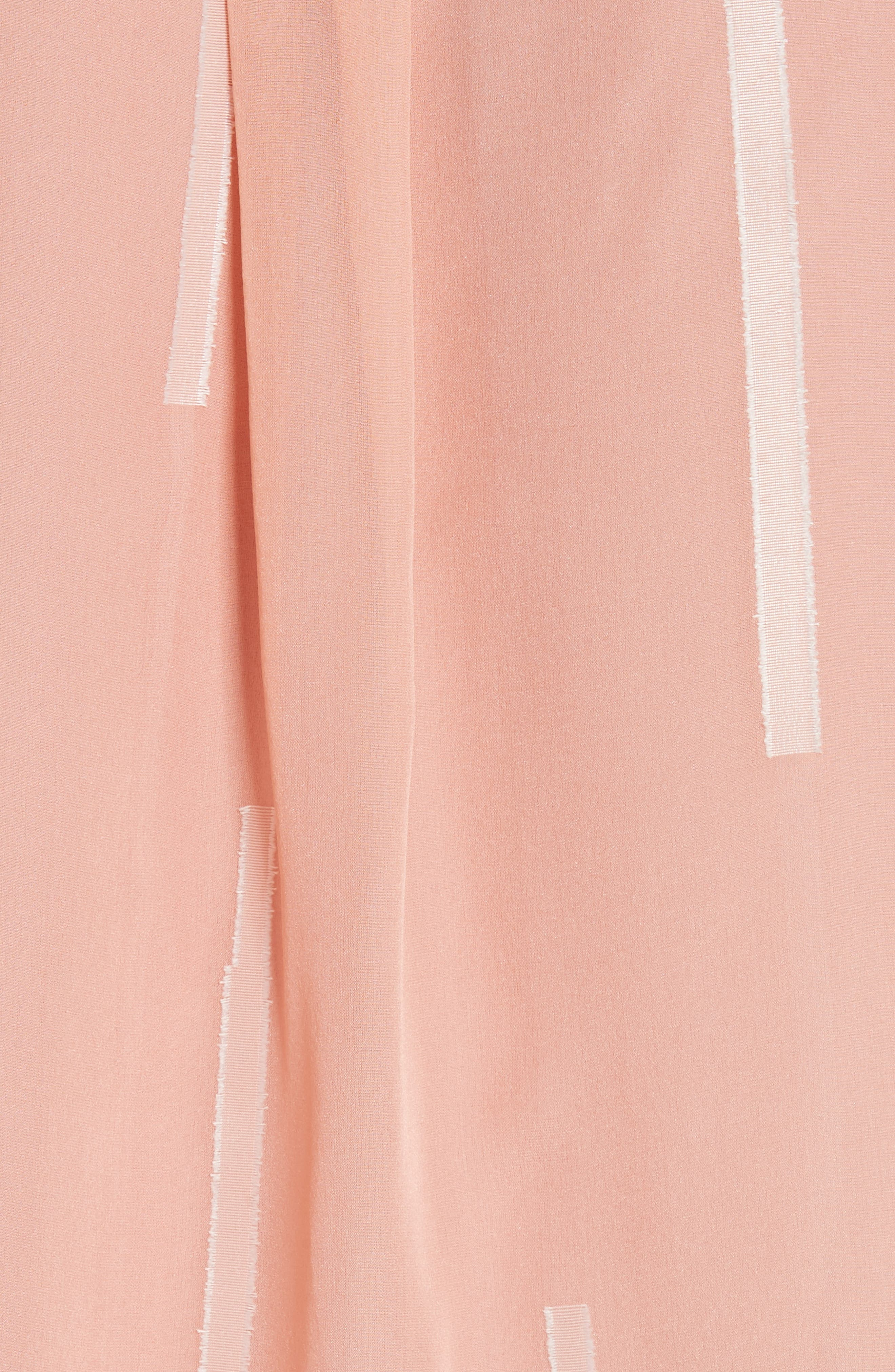 Clipped Stripe Handkerchief Silk Blend Blouse,                             Alternate thumbnail 5, color,                             DUSTY ROSE