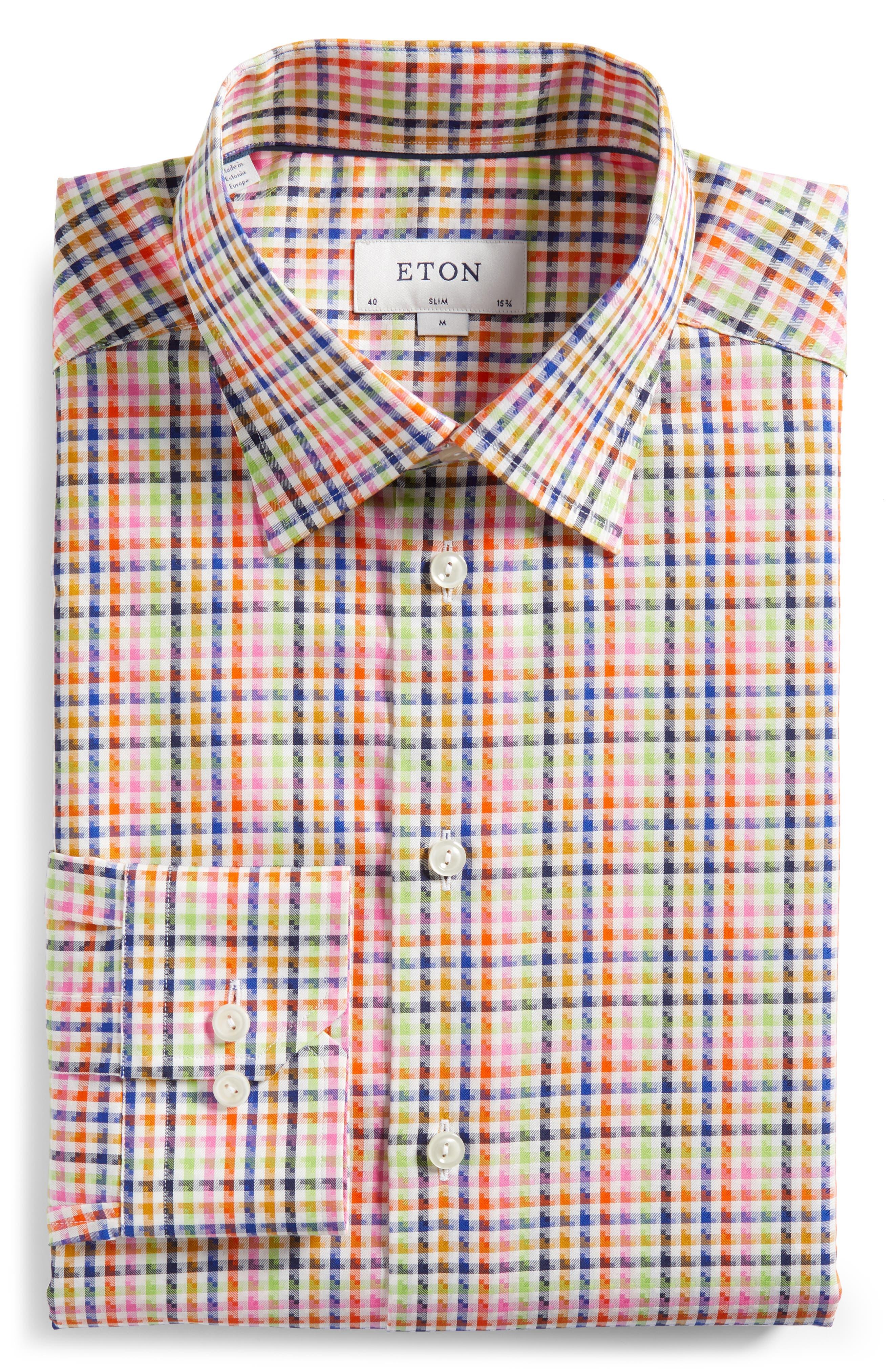 Slim Fit Check Dress Shirt,                             Alternate thumbnail 5, color,