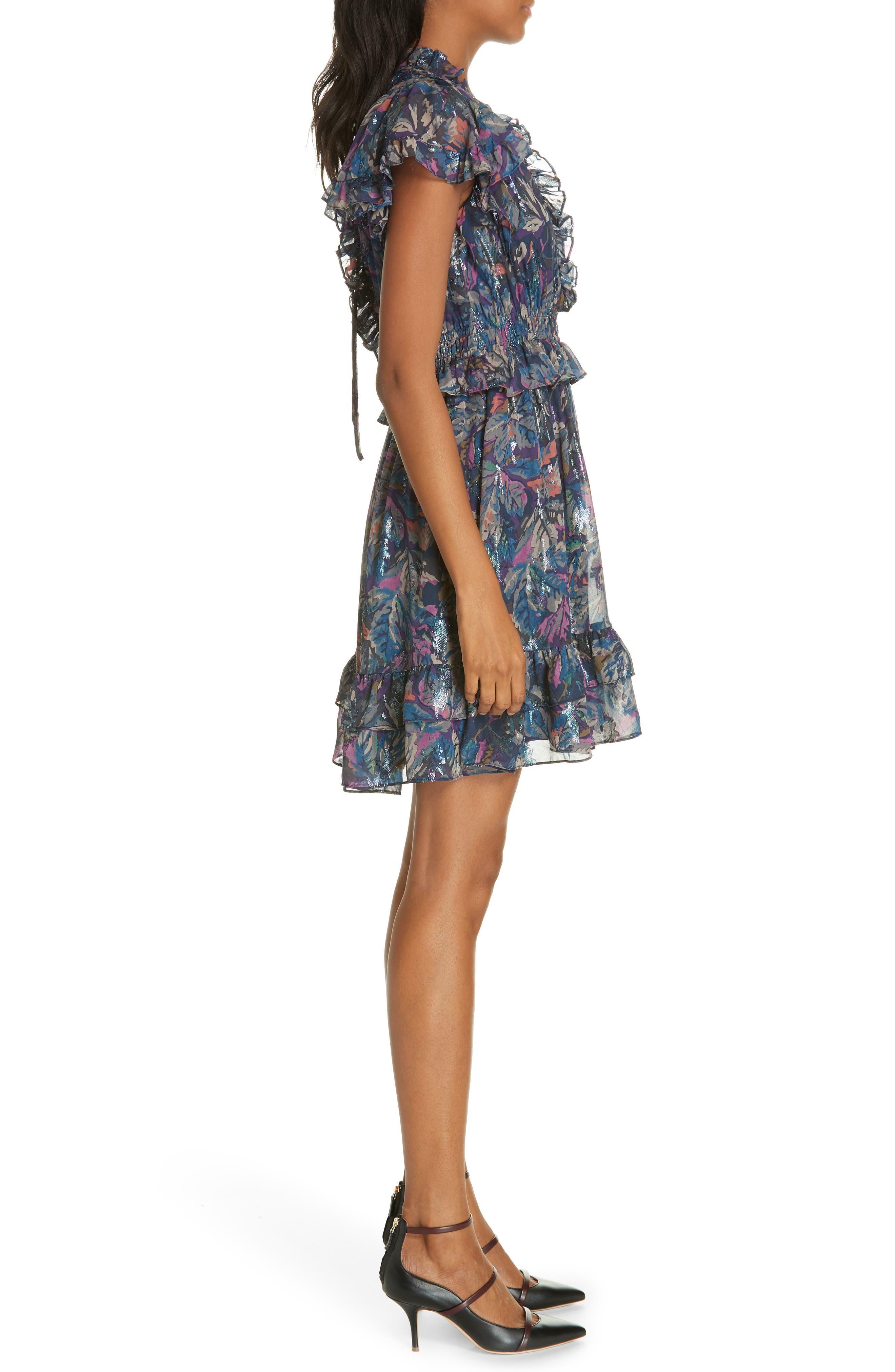 Giverney Fleur Dress,                             Alternate thumbnail 3, color,                             AMETHYST COMBO