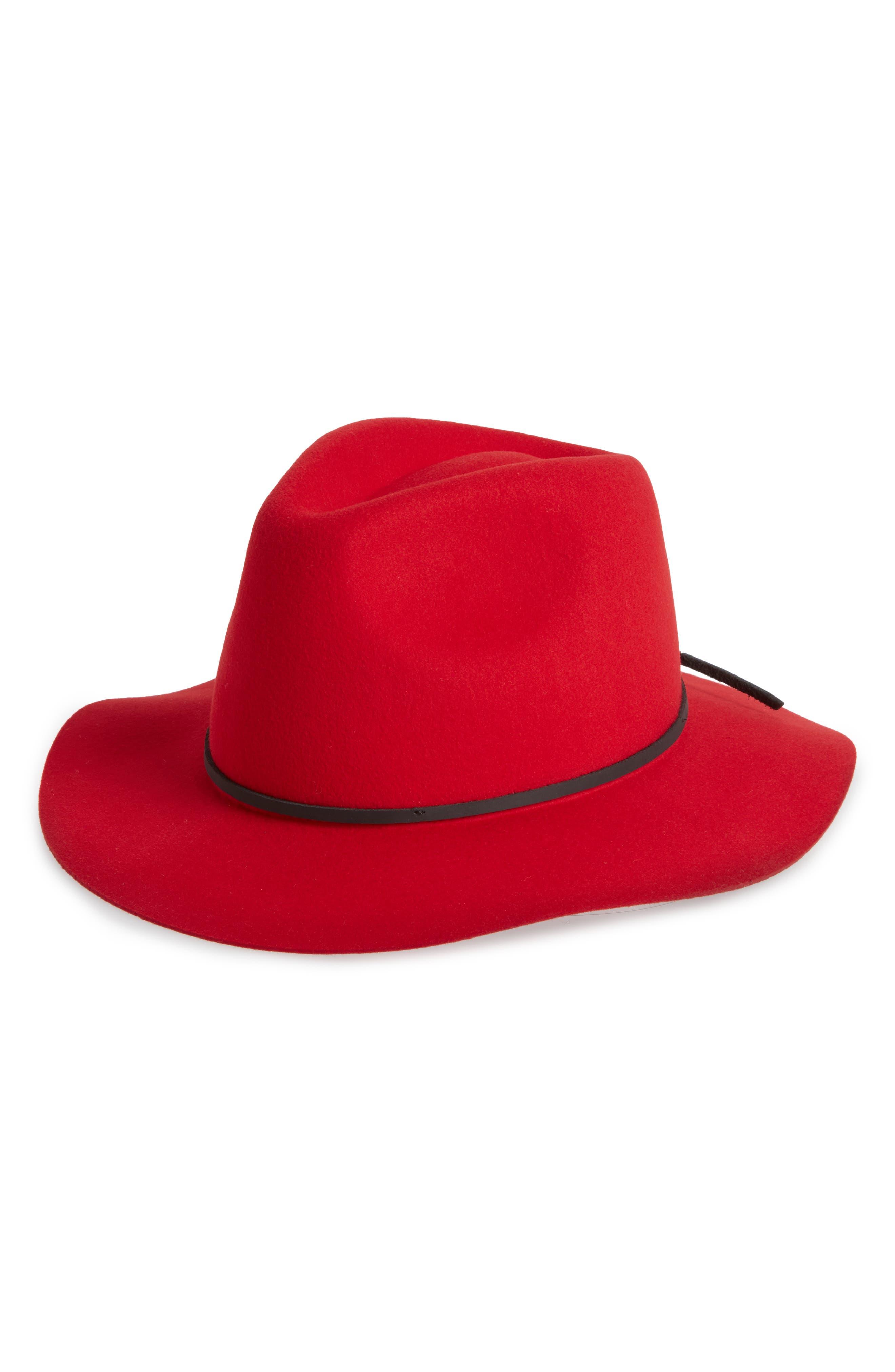 Wesley Wool Felt Fedora,                         Main,                         color, RED