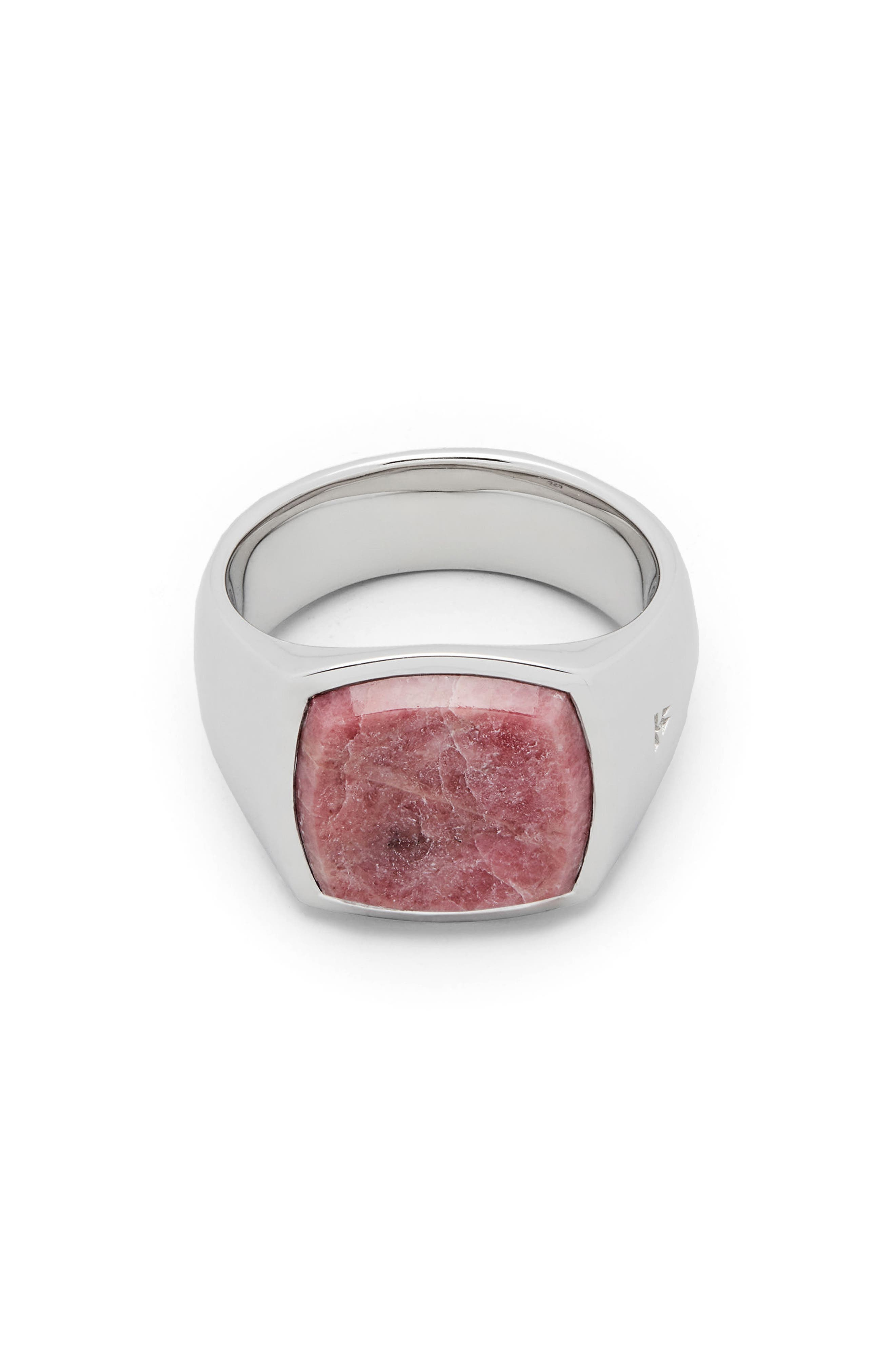 Pink Rhodonite Cushion Signet Ring,                             Main thumbnail 1, color,                             925 STERLING SILVER