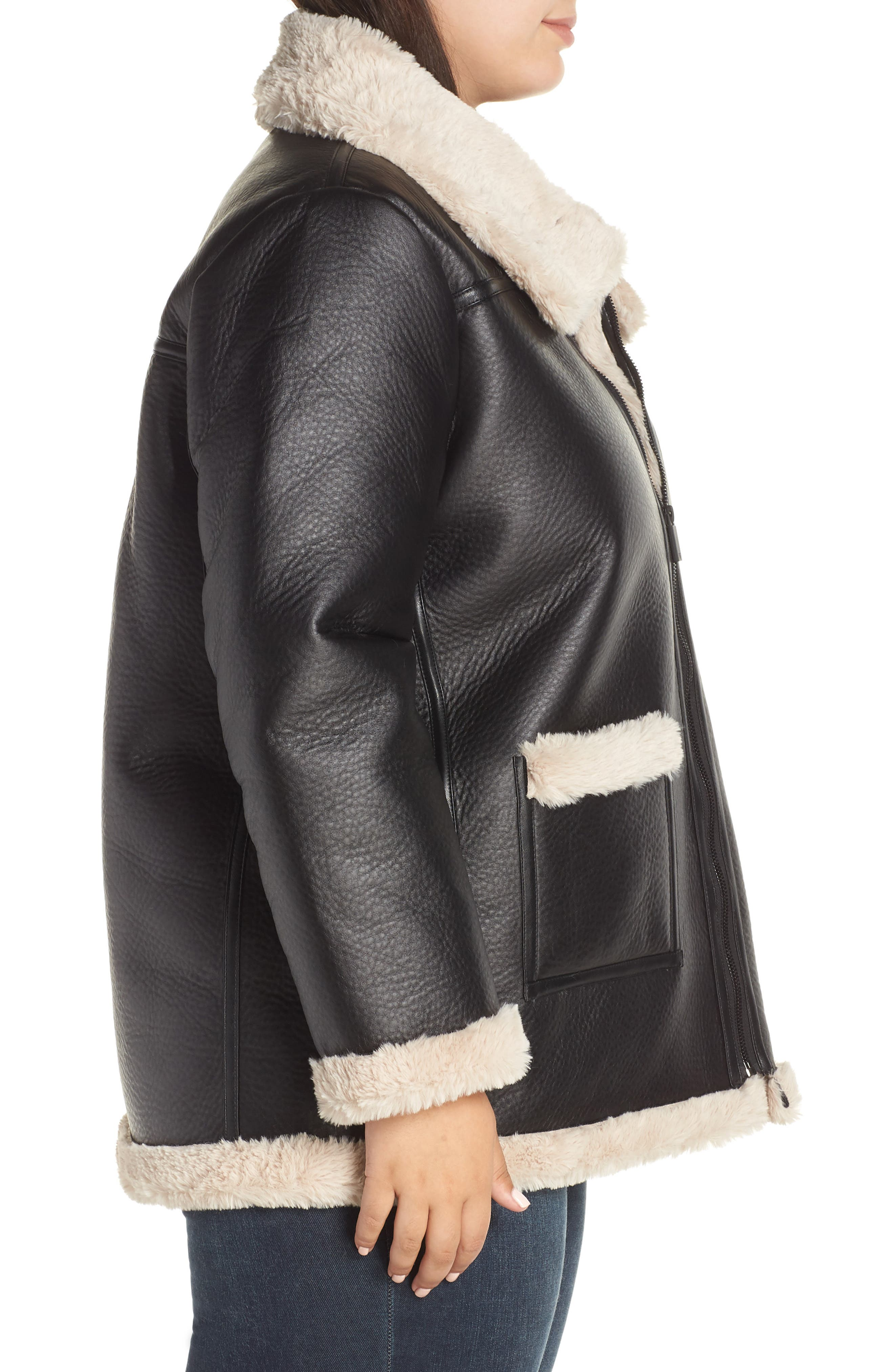 Faux Shearling Jacket,                             Alternate thumbnail 3, color,                             RICH BLACK