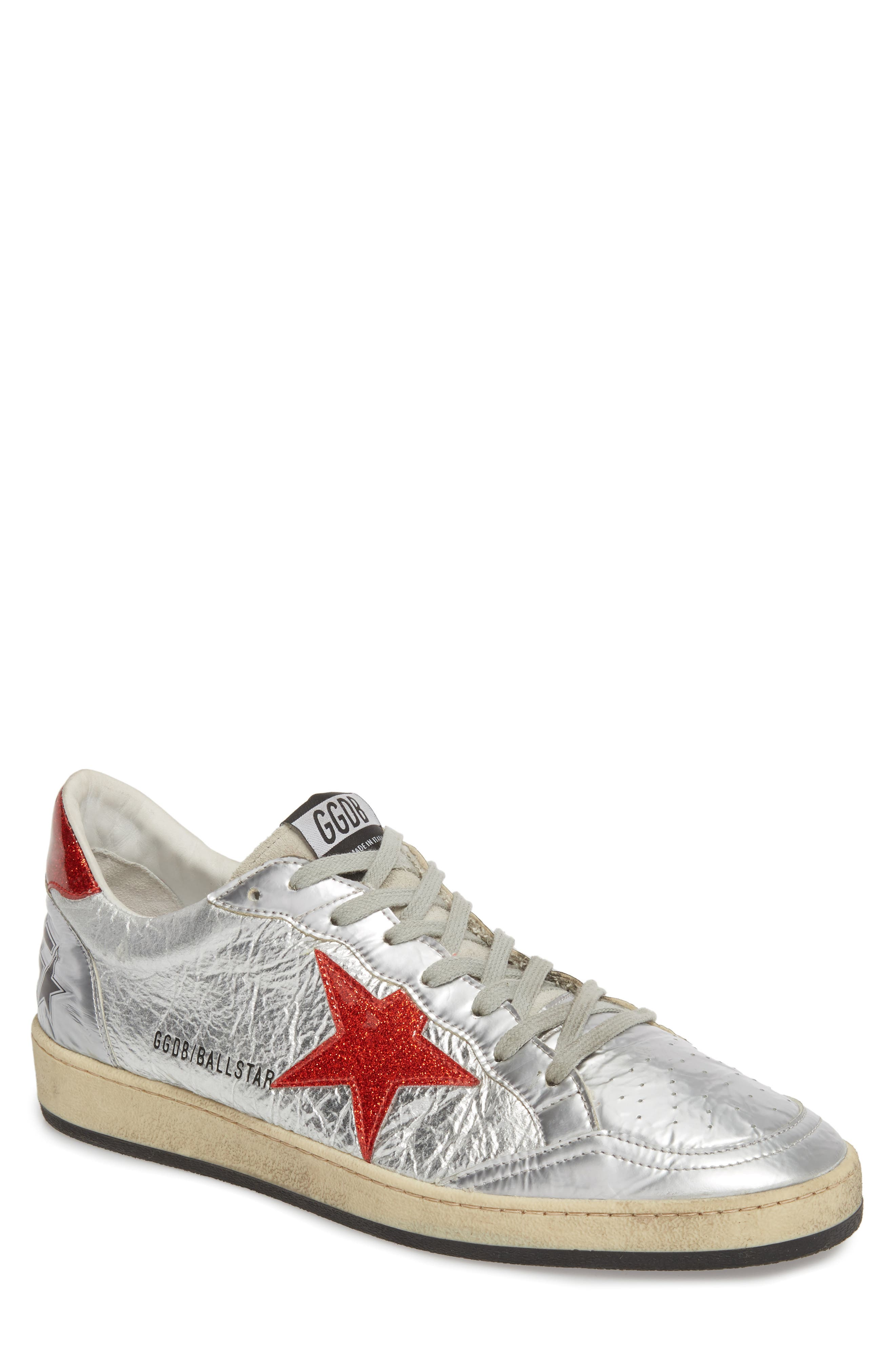B-Ball Star Sneaker,                             Main thumbnail 1, color,                             SILVER-RED GLITTER- STAR DANCE