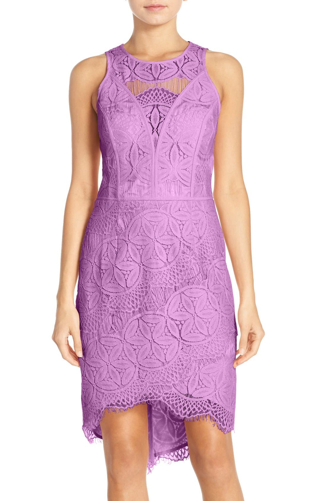 Lace High/Low Sheath Dress,                             Main thumbnail 7, color,