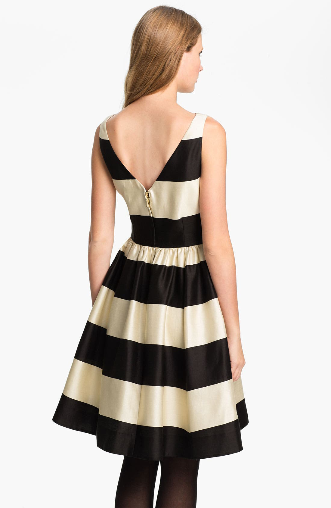 'carolyn' stripe fit & flare dress,                             Alternate thumbnail 3, color,                             200