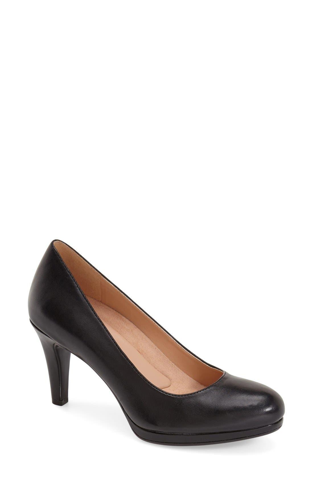 'Michelle' Almond Toe Pump,                             Main thumbnail 1, color,                             BLACK LEATHER