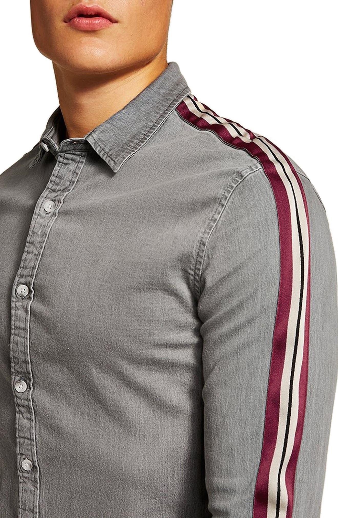 Taping Denim Shirt,                             Alternate thumbnail 2, color,                             GREY MULTI