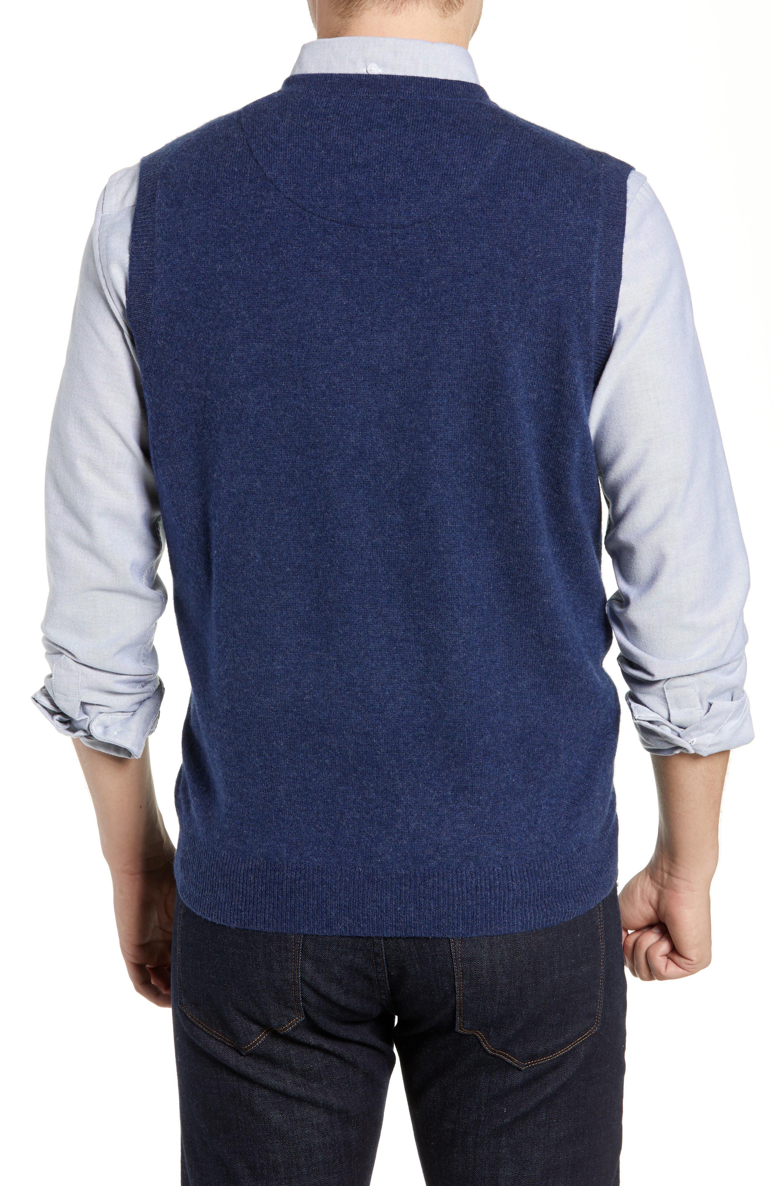 Cashmere V-Neck Sweater Vest,                             Alternate thumbnail 2, color,                             BLUE ESTATE HEATHER