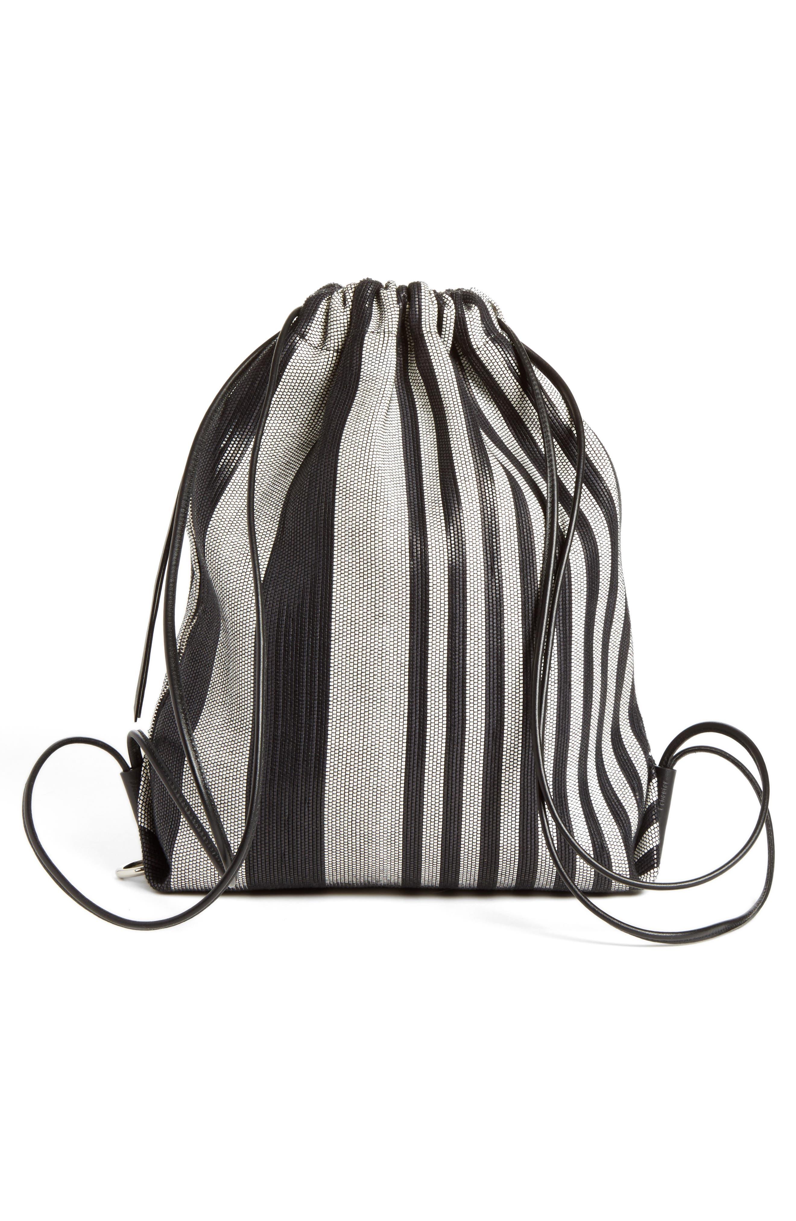 Drawstring Backpack,                         Main,                         color, BLACK/WHITE