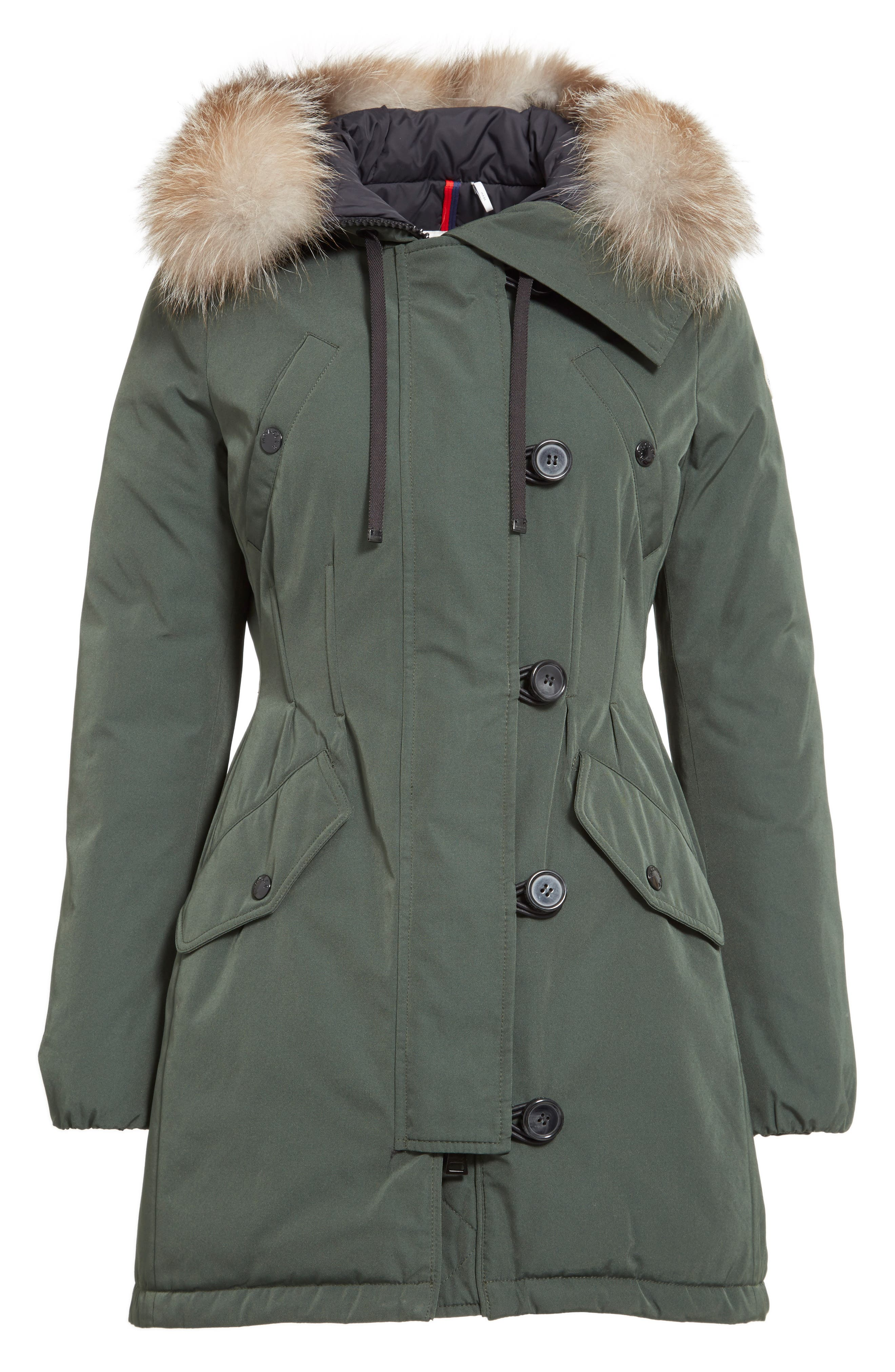 Aredhel Hooded Down Parka with Removable Genuine Fox Fur Trim,                             Alternate thumbnail 5, color,                             001