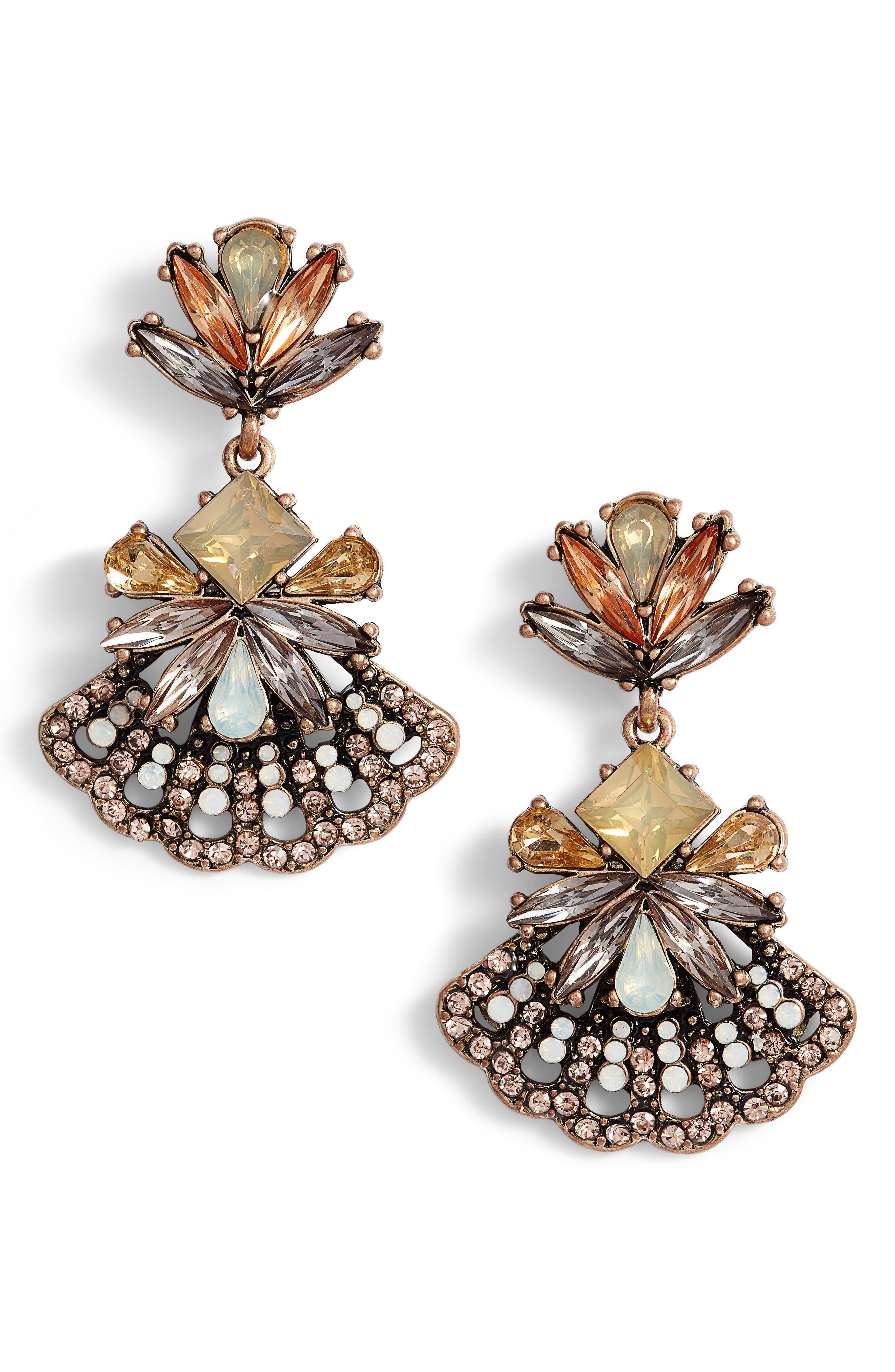 Crystal Fan Earrings,                             Main thumbnail 1, color,                             710