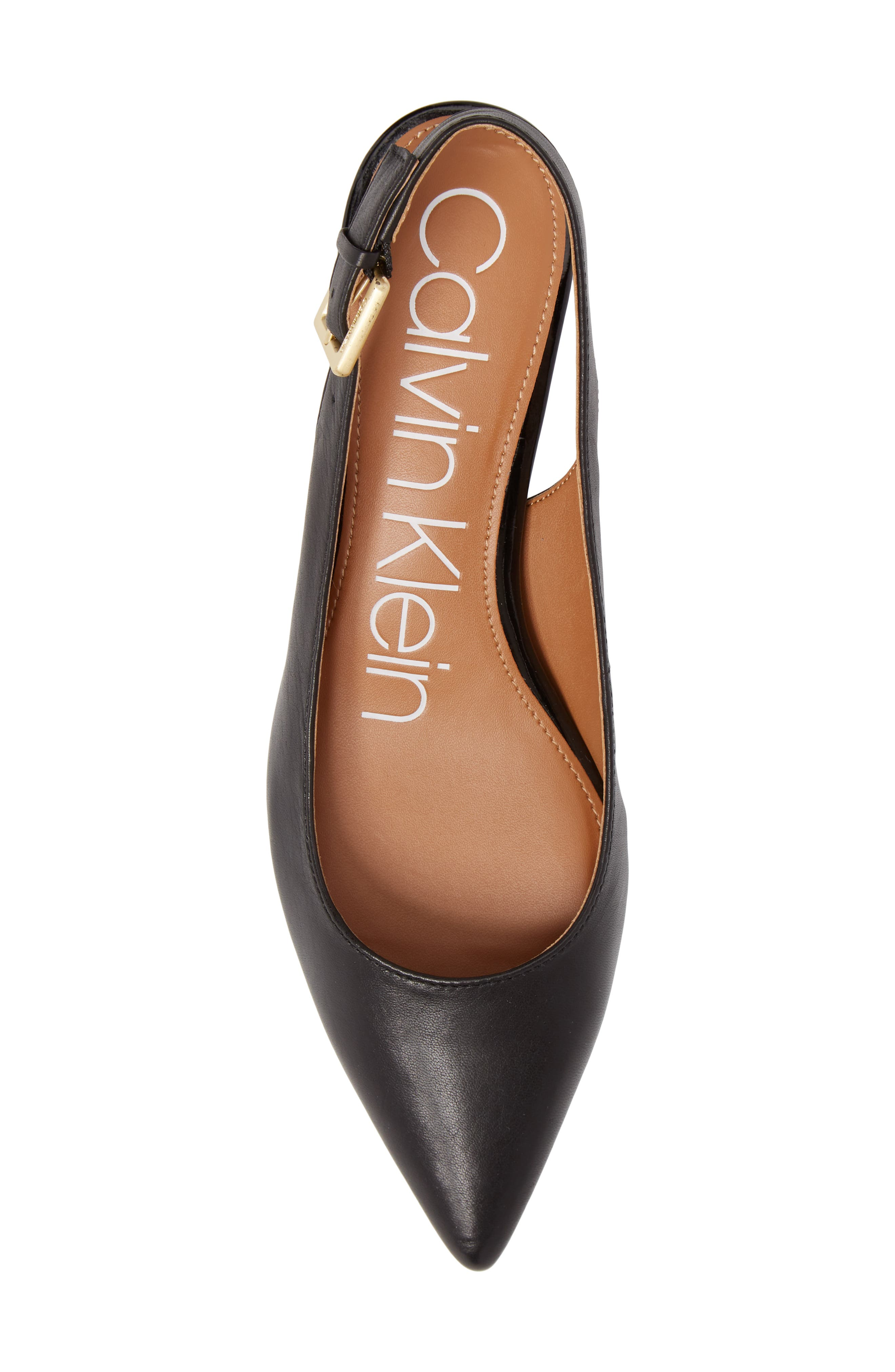 Glorianne Slingback Pointy Toe Pump,                             Alternate thumbnail 5, color,                             BLACK LEATHER