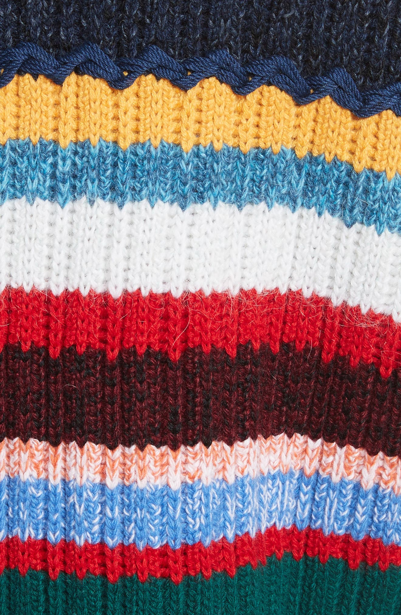 Chunky Multicolor Stripe Wool Blend Sweater,                             Alternate thumbnail 5, color,                             300