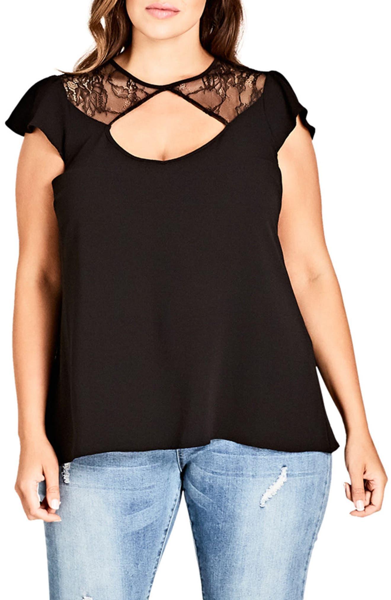 Lace Peek Top,                         Main,                         color, BLACK