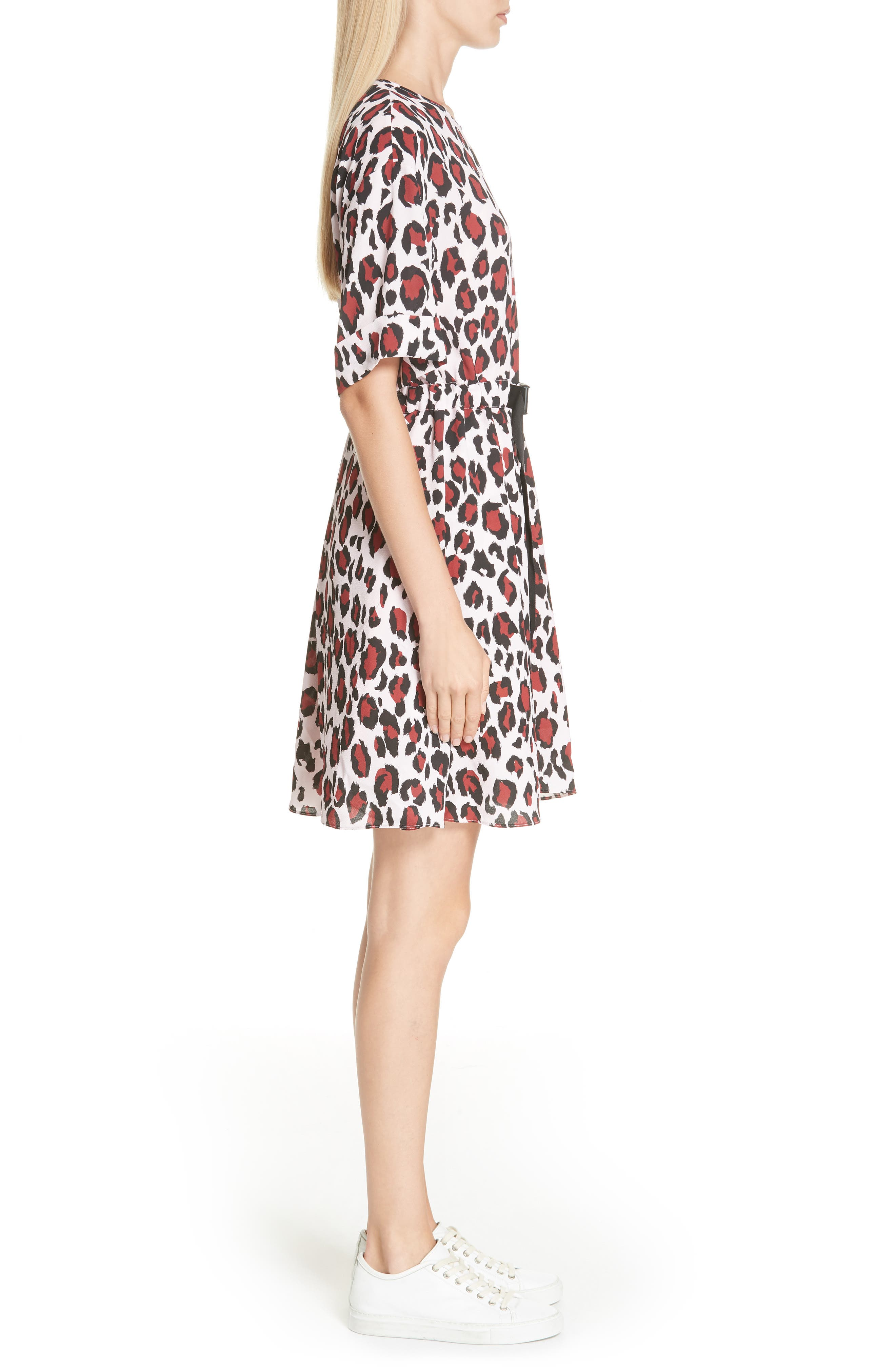 Animal Print Belted Dress,                             Alternate thumbnail 3, color,                             PINK