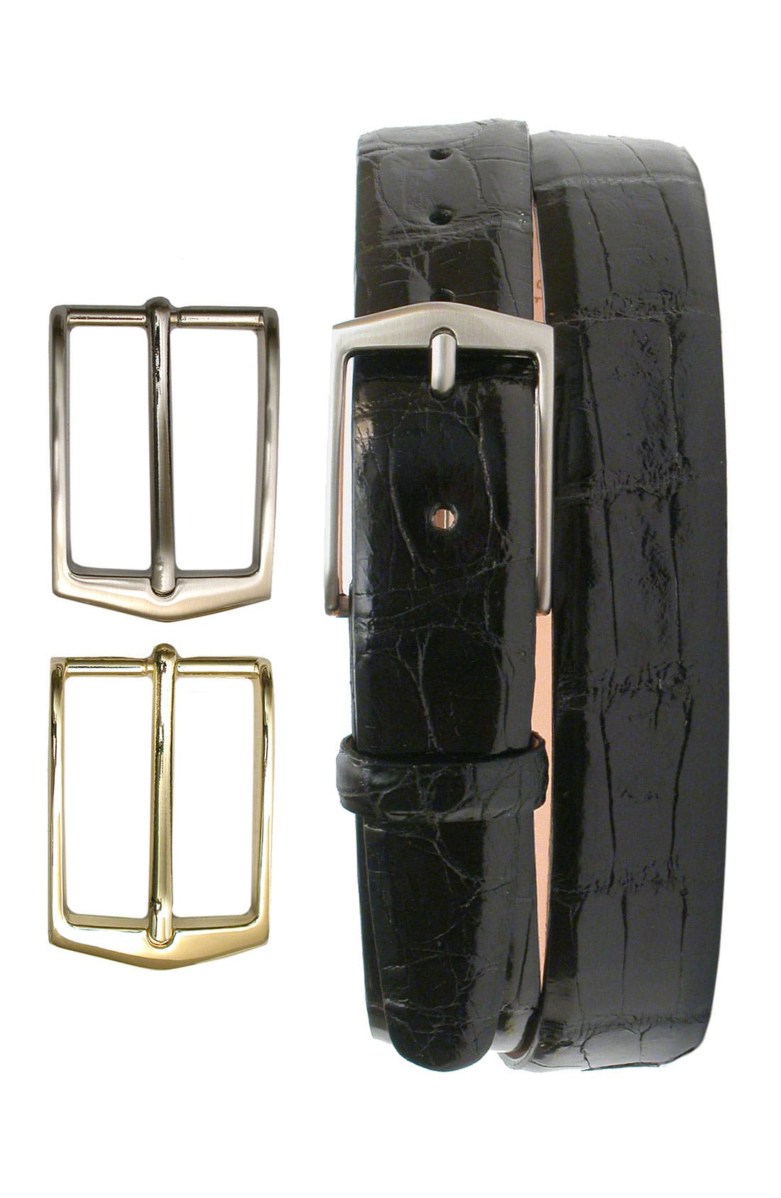 'Julian' Glazed American Alligator Leather Belt with Interchangeable Buckles,                             Main thumbnail 1, color,                             001