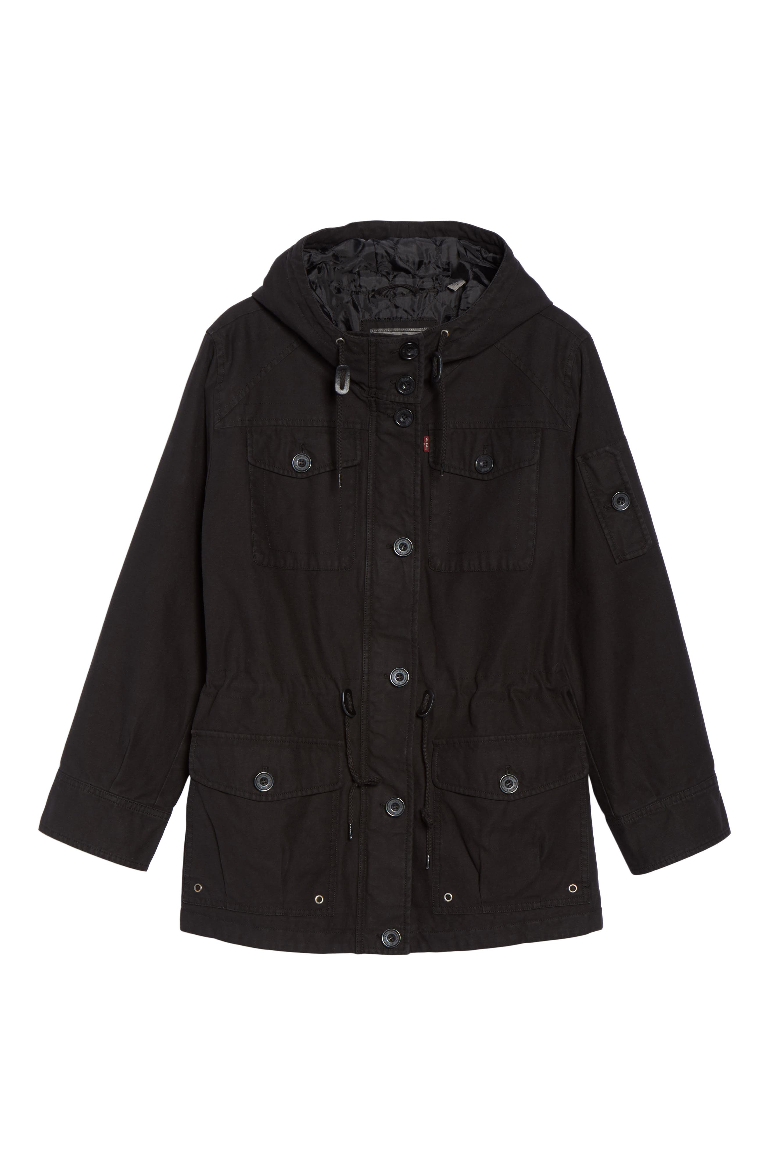 Hooded Cotton Utility Jacket,                             Alternate thumbnail 5, color,                             001