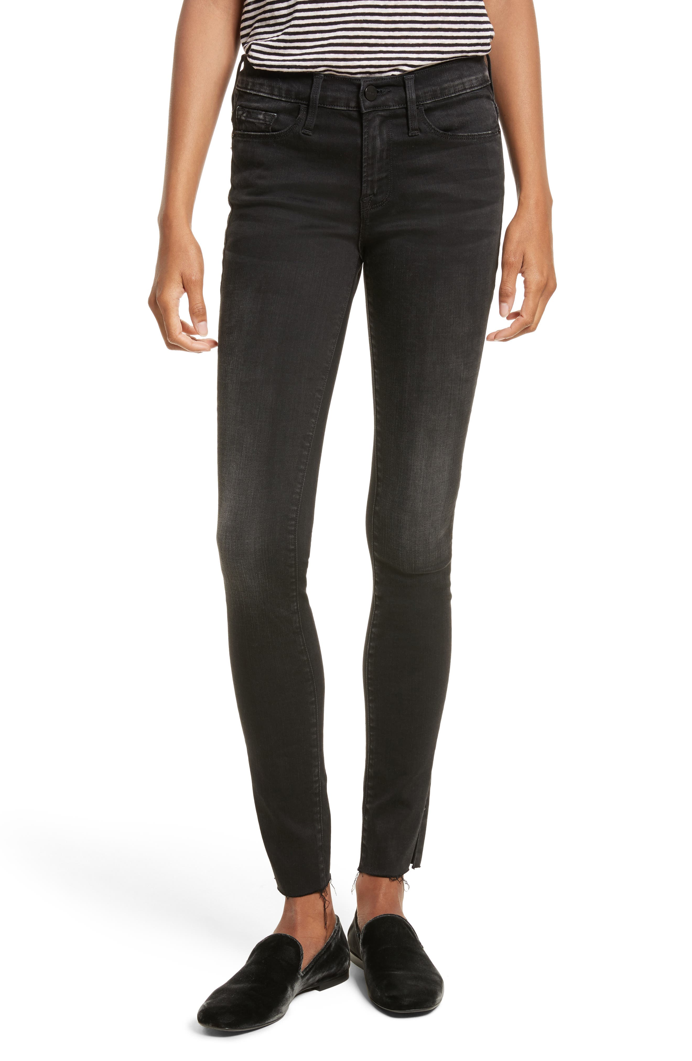 Le Skinny de Jeanne Raw Edge Skinny Jeans,                         Main,                         color, 002