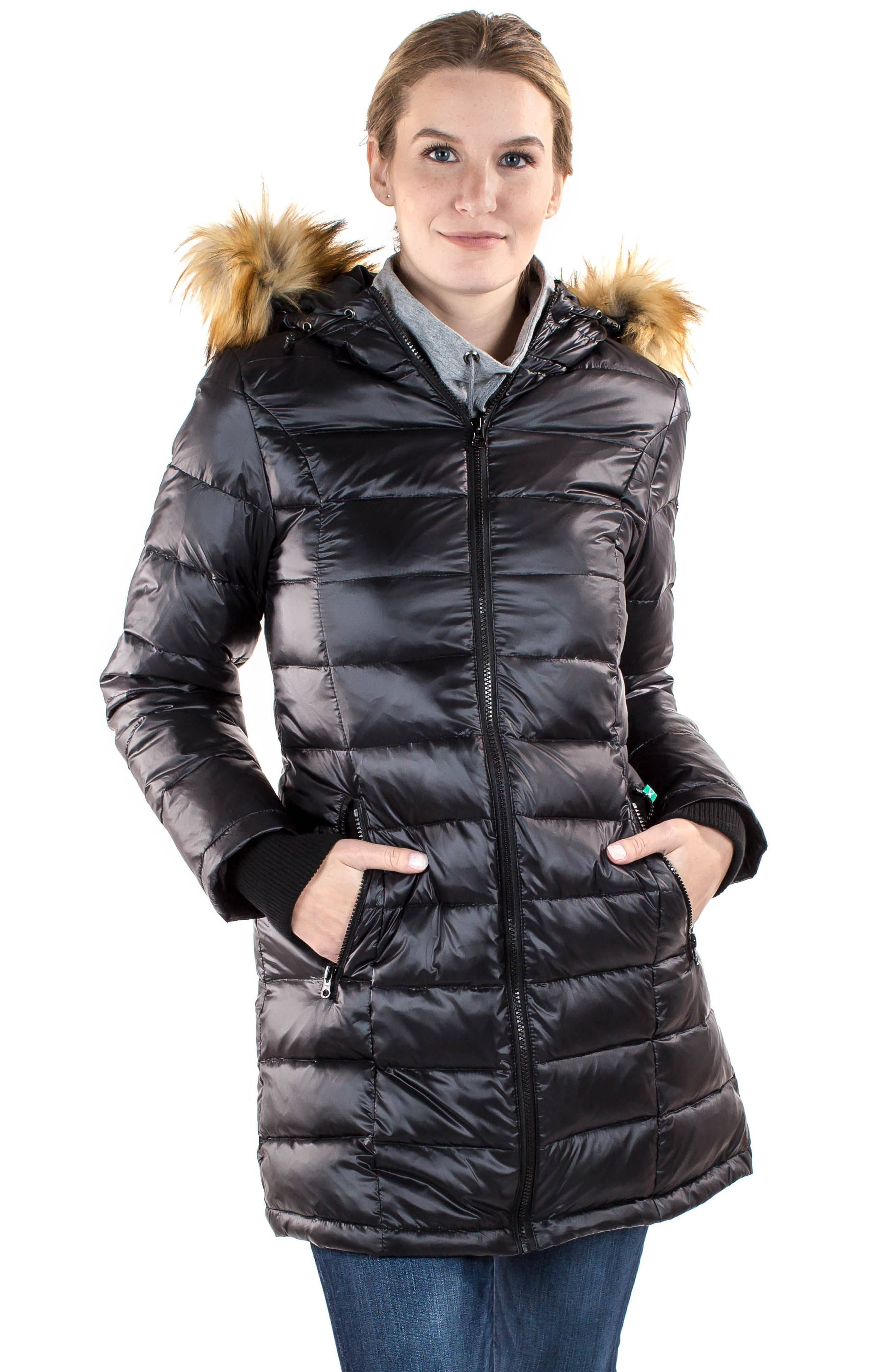 Quilted 3-in-1 Maternity/Nursing Parka,                             Alternate thumbnail 7, color,                             BLACK