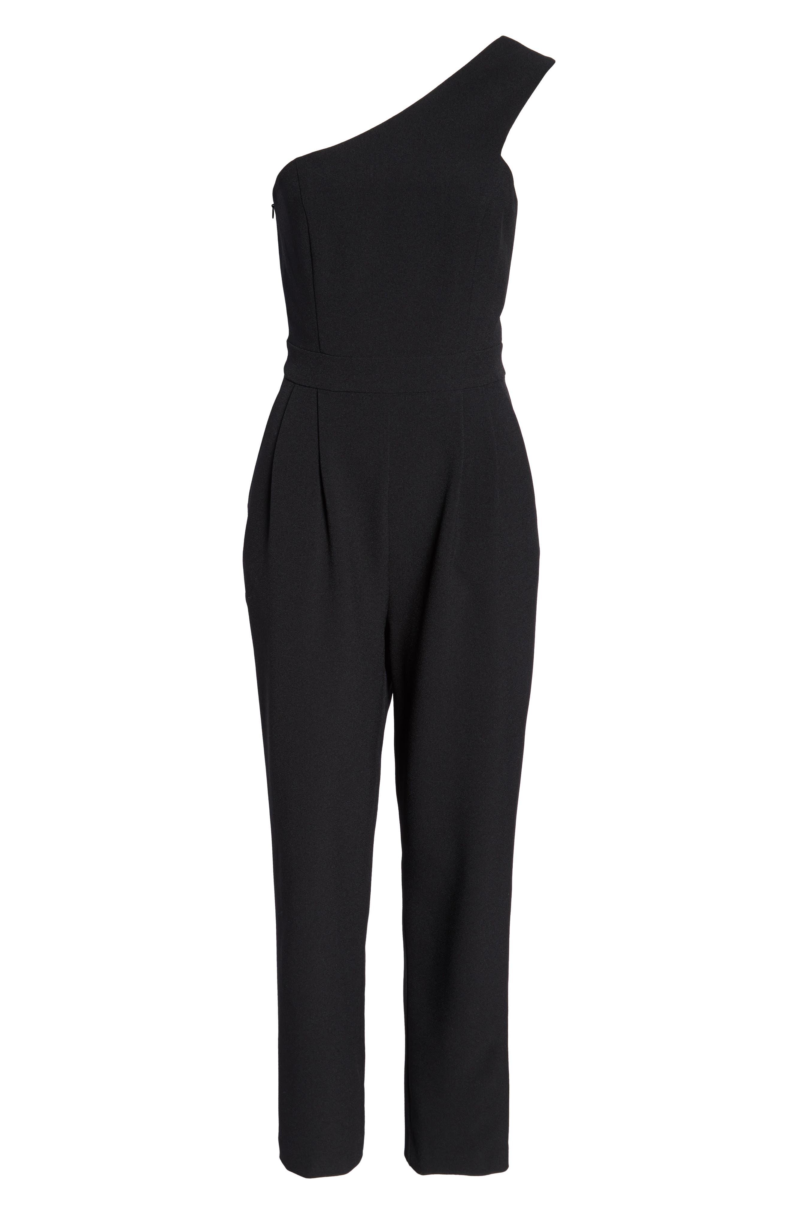 One-Shoulder Jumpsuit,                             Alternate thumbnail 7, color,                             BLACK