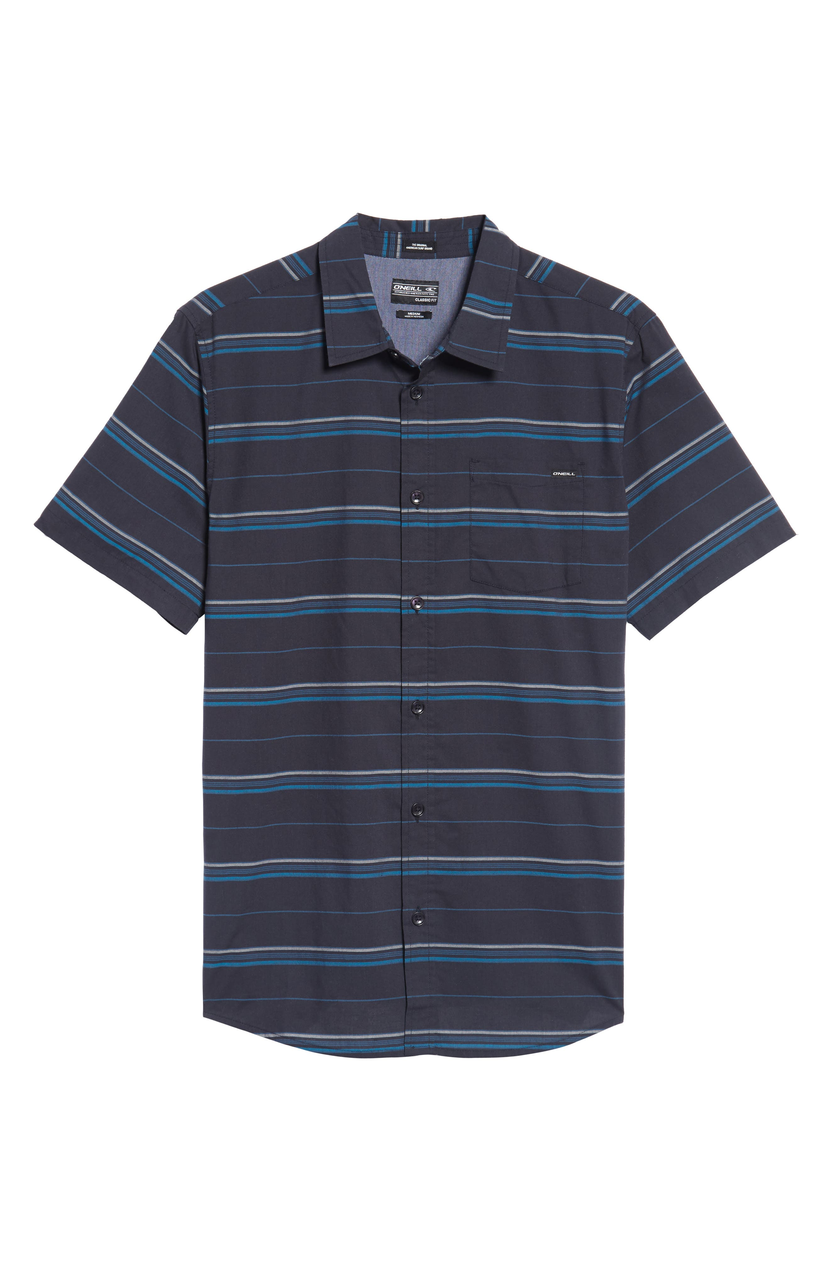 Striped Woven Shirt,                             Alternate thumbnail 6, color,                             410