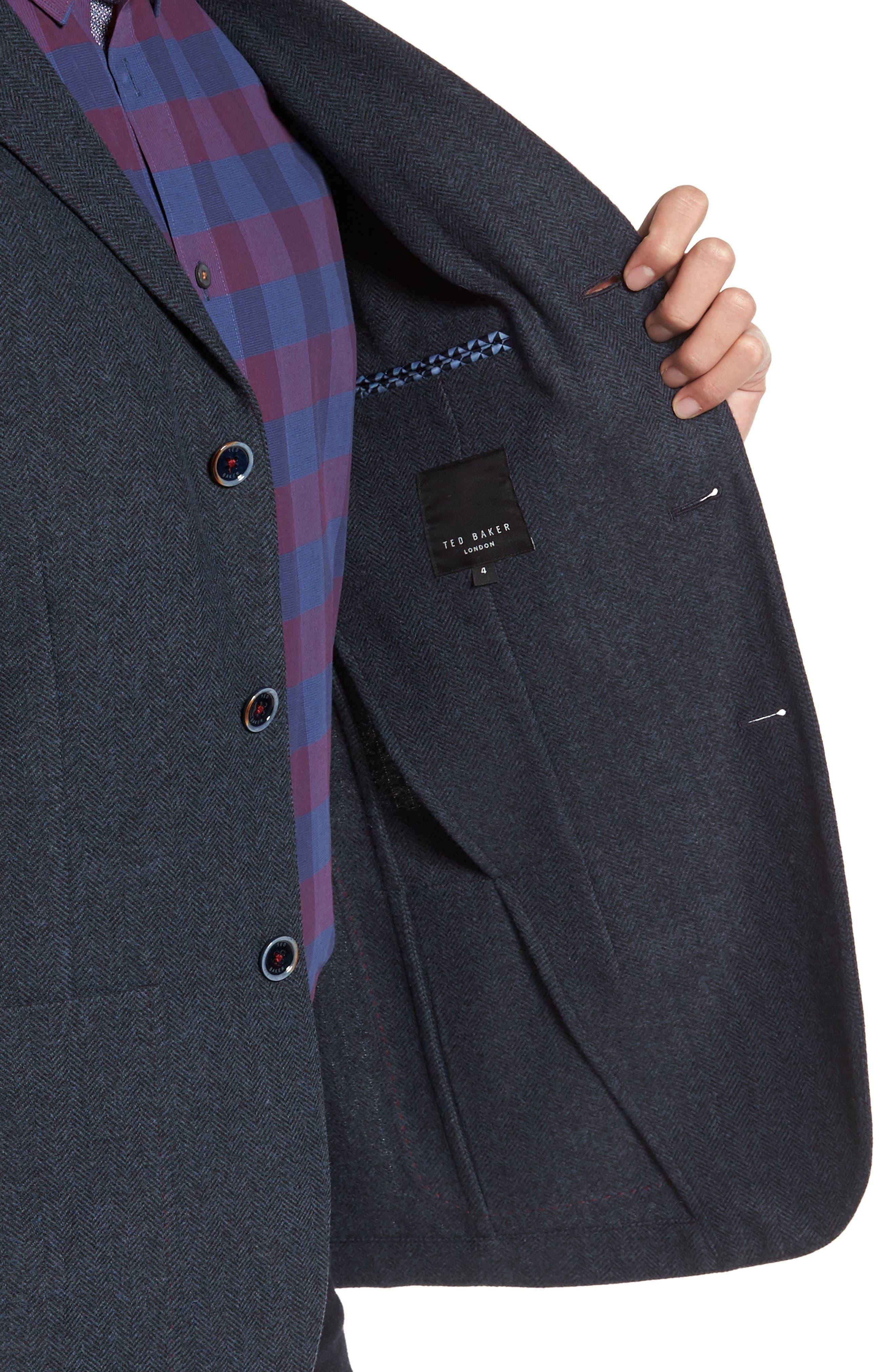 Porter Herringbone Wool Blend Jacket,                             Alternate thumbnail 4, color,                             410