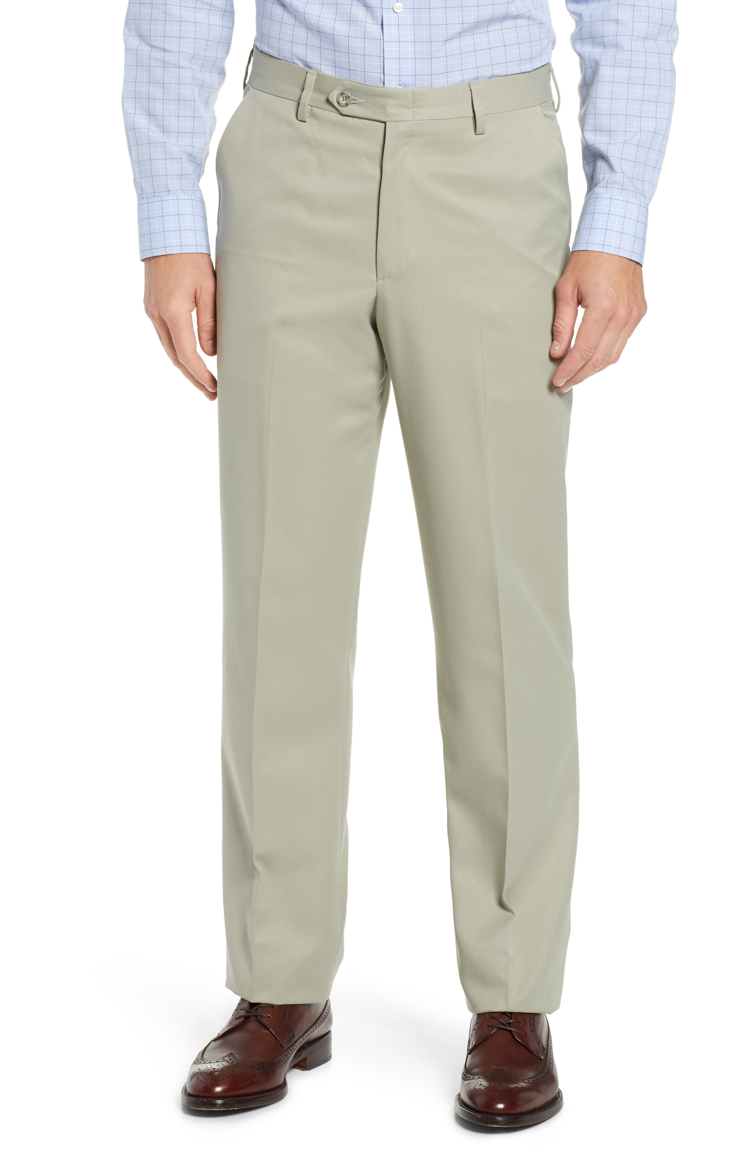 Classic Fit Flat Front Microfiber Performance Trousers,                             Main thumbnail 1, color,                             TAUPE