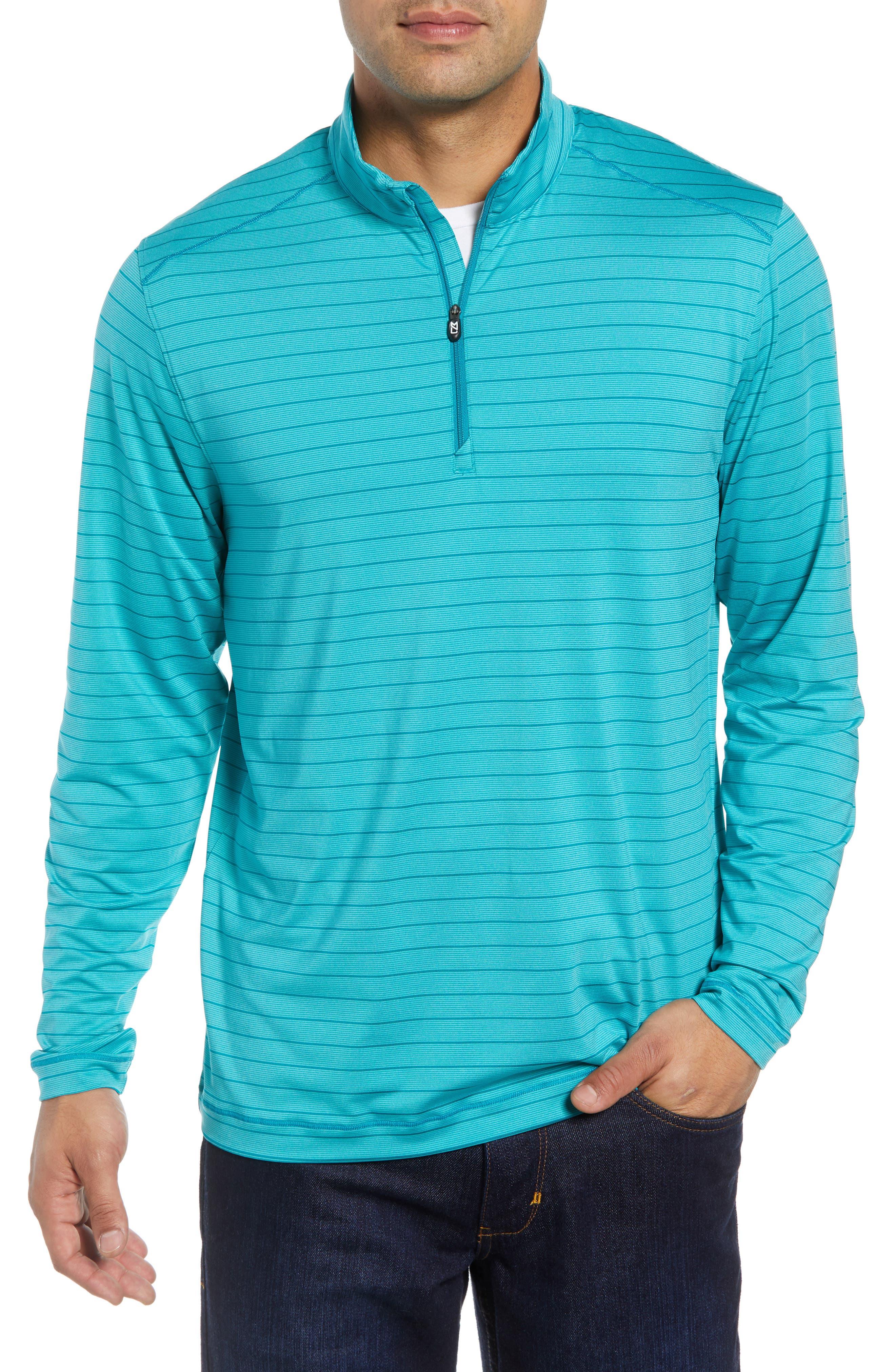 Holman Stripe Half Zip Pullover,                             Main thumbnail 1, color,                             AQUATIC HEATHER