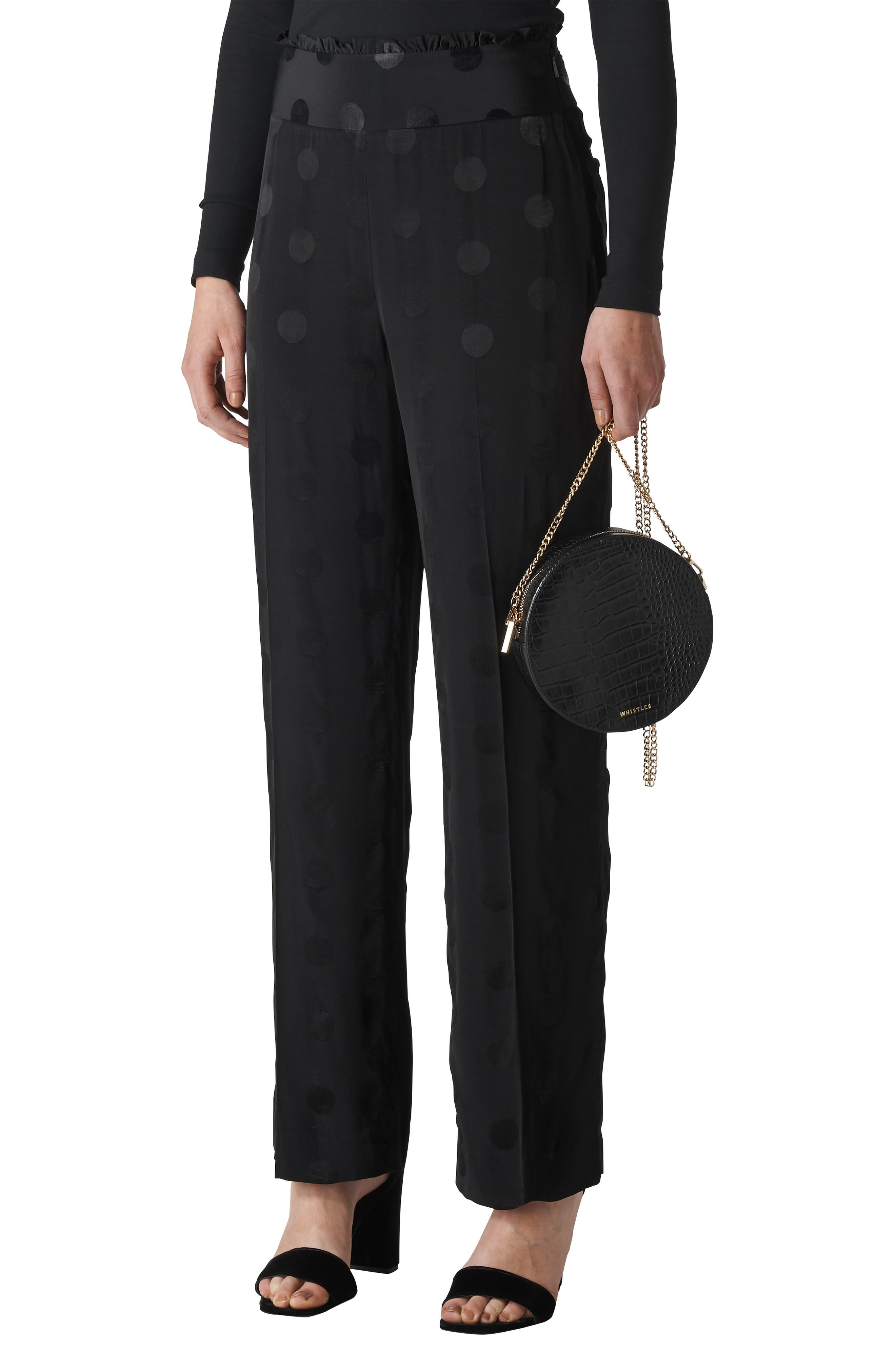 WHISTLES Dot-Jacquard Straight-Leg Pants in Black