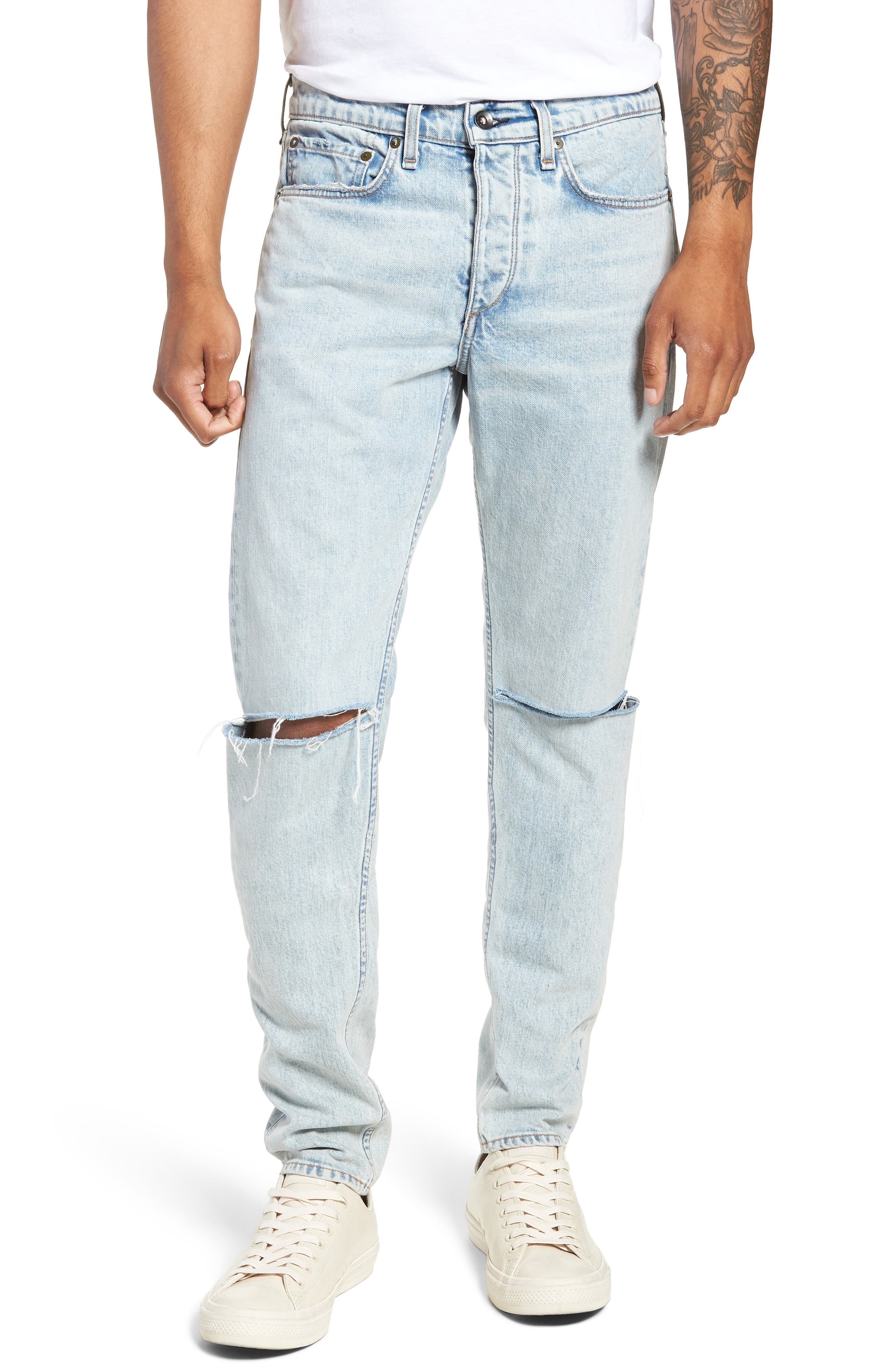 Fit 1 Skinny Fit Jeans,                         Main,                         color, JASPER WITH HOLES