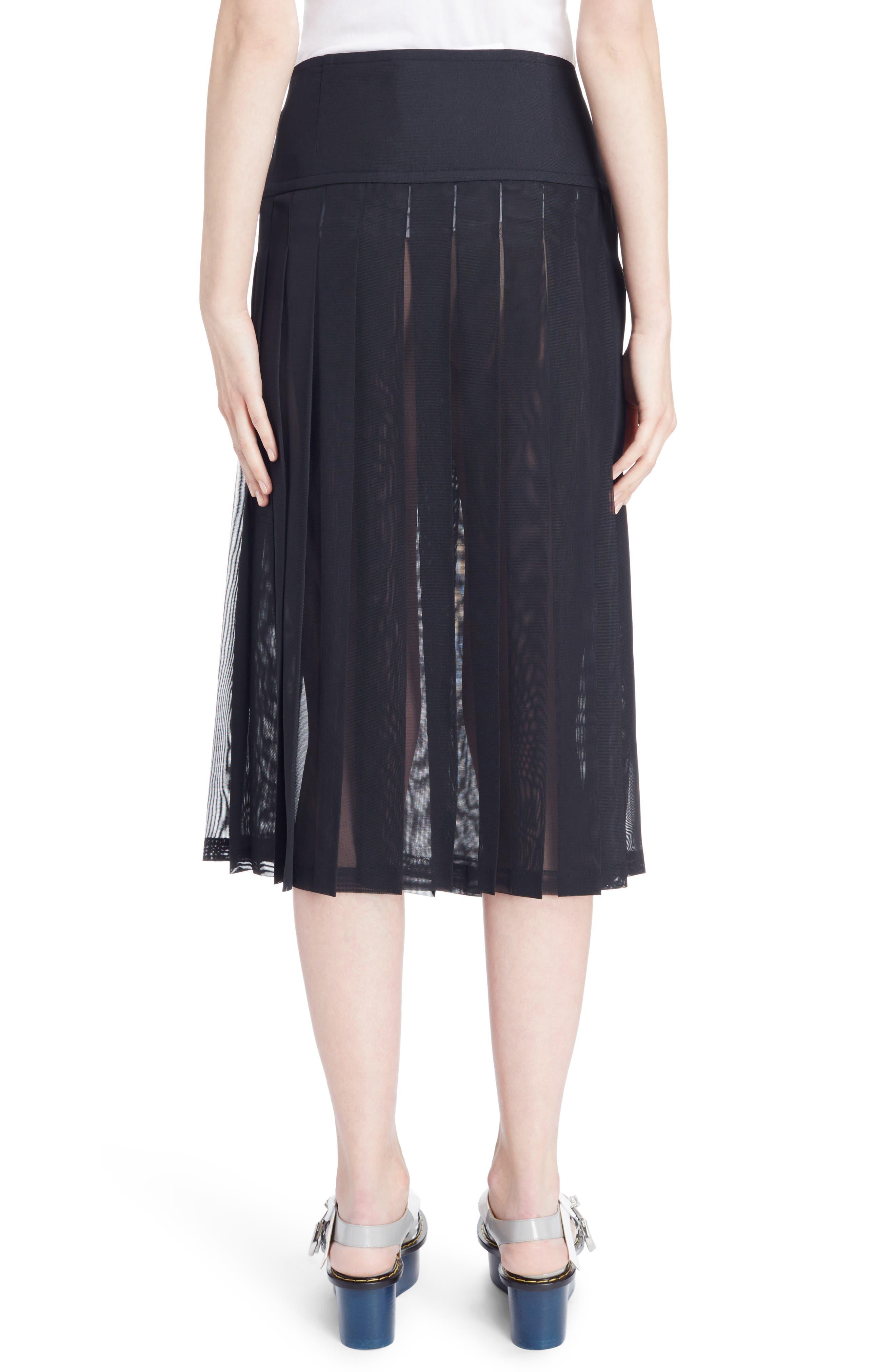 Buckle Pleated Mesh Skirt,                             Alternate thumbnail 2, color,                             001