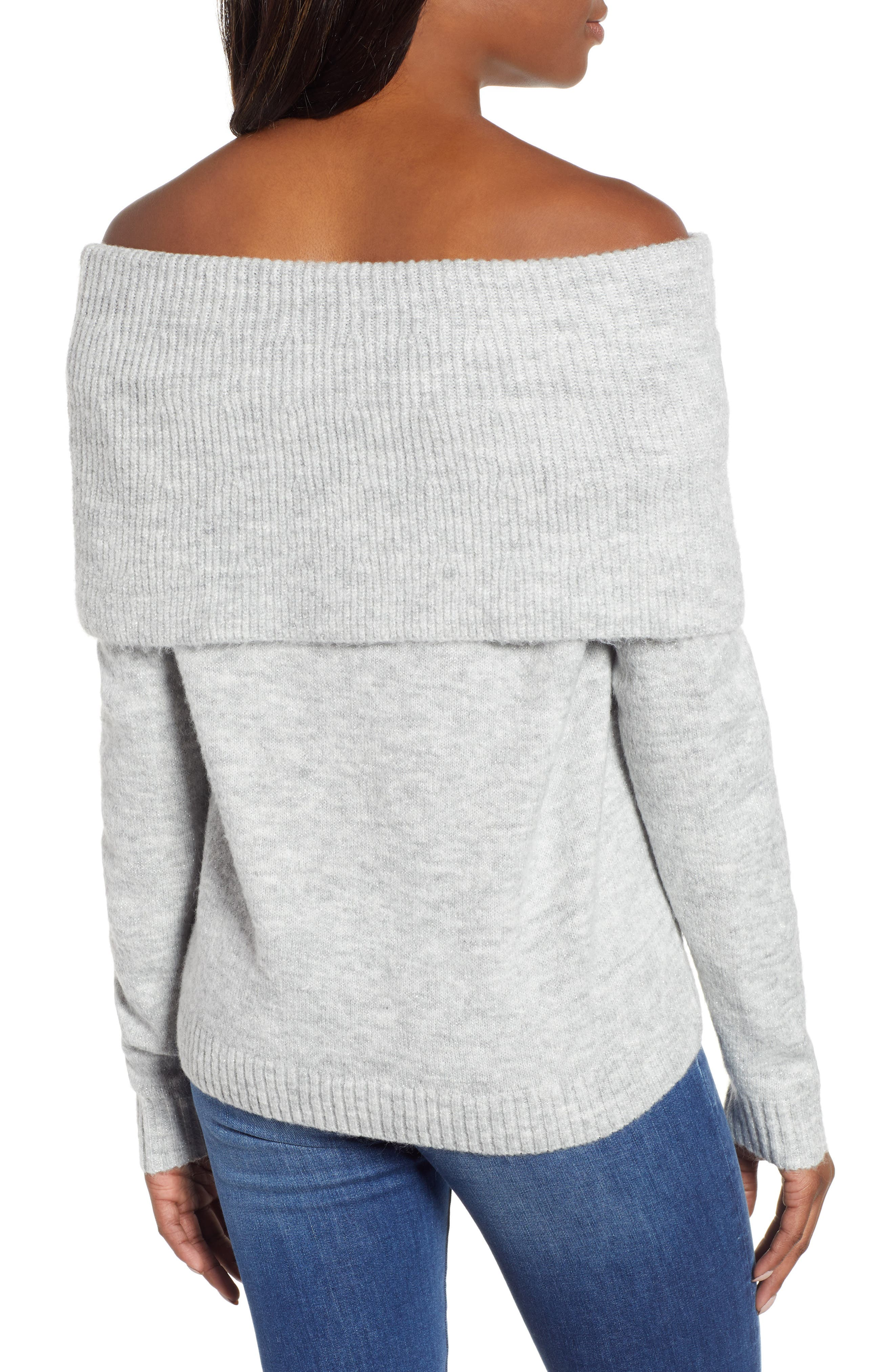 Convertible Cowl Neck Sweater,                             Alternate thumbnail 3, color,                             GREY HEATHER