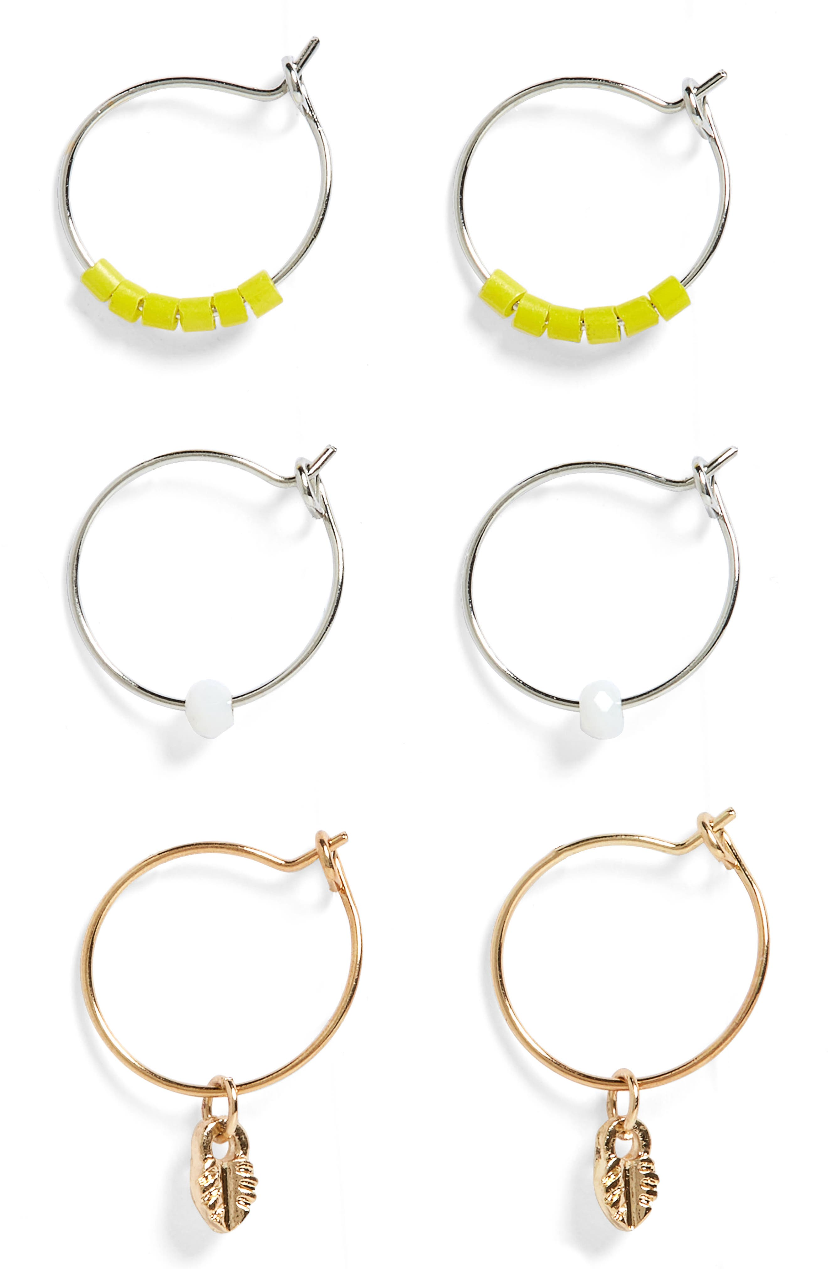 Set of 3 Charm Hoop Earrings,                             Main thumbnail 1, color,                             000