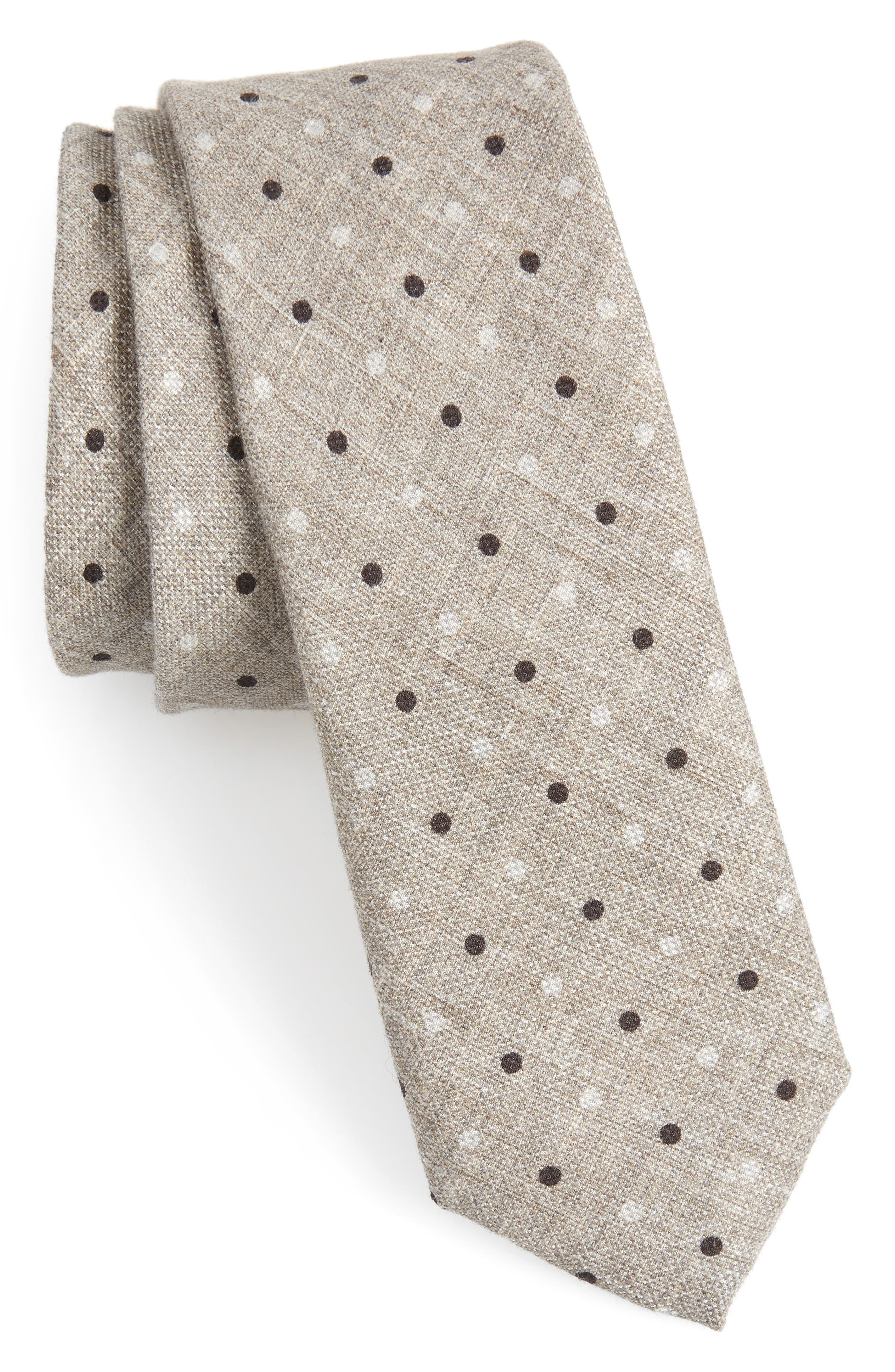 Dot Cotton & Silk Skinny Tie,                             Main thumbnail 1, color,                             255