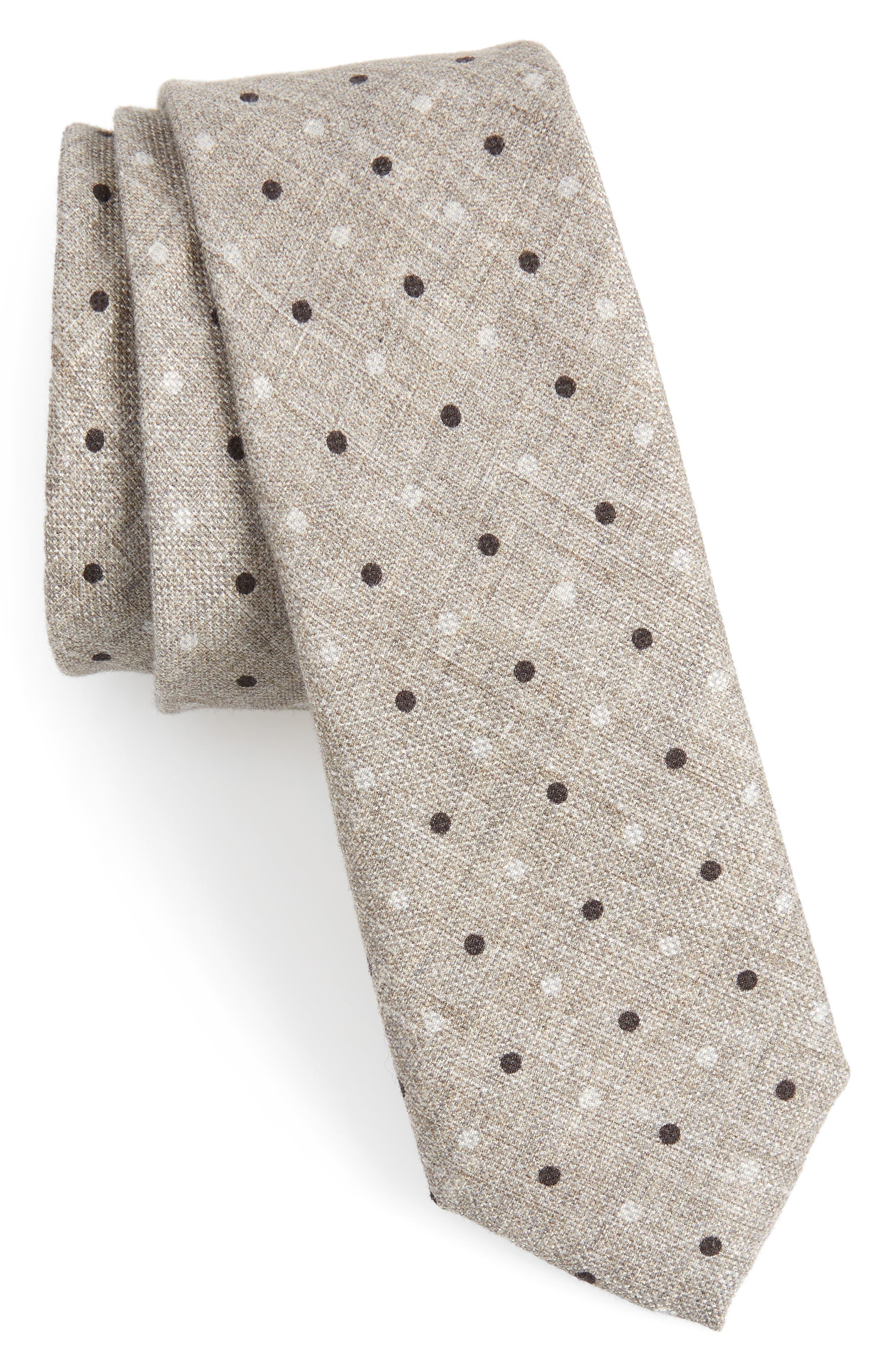 Dot Cotton & Silk Skinny Tie,                         Main,                         color,