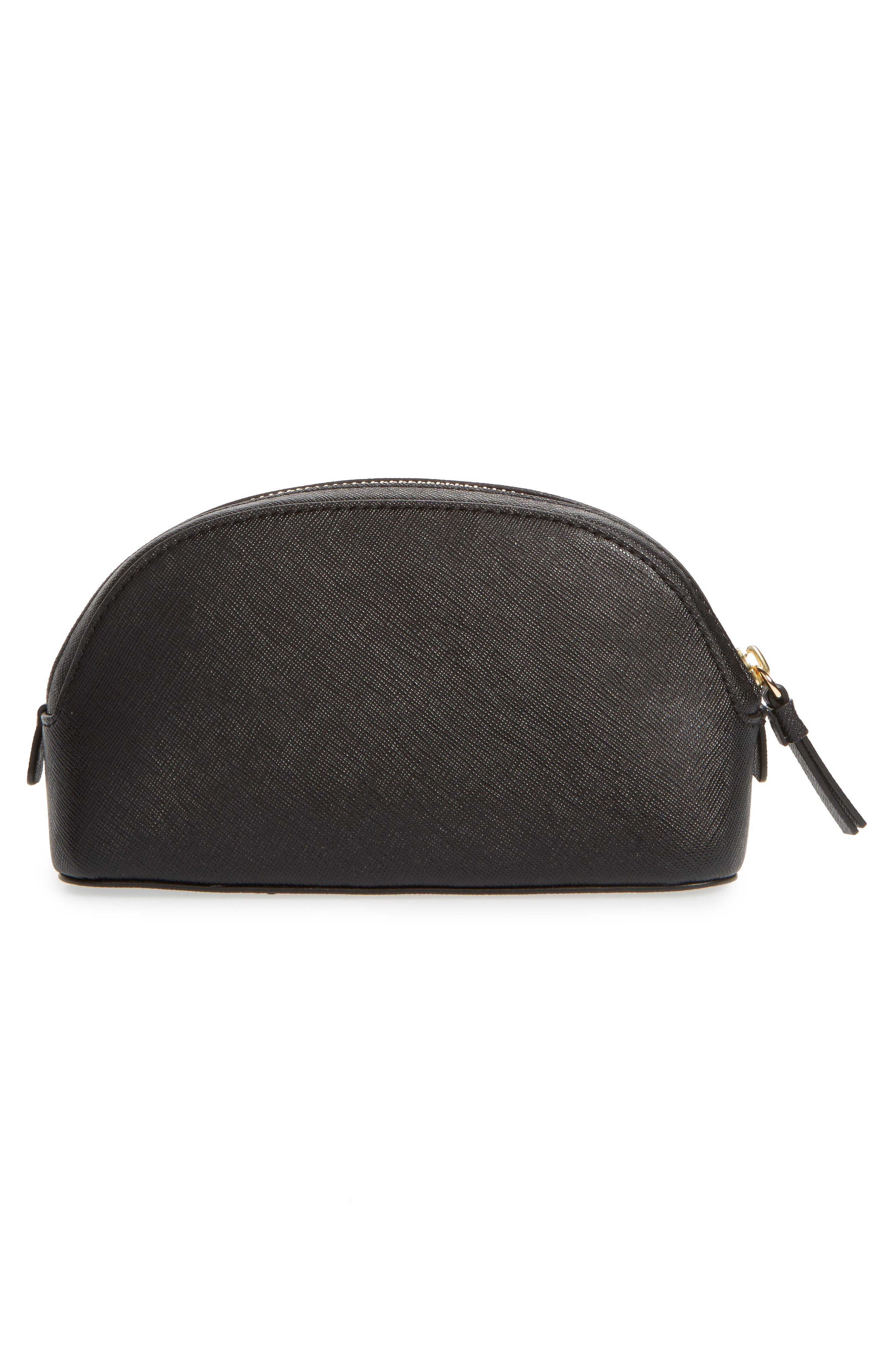 Robinson Small Leather Cosmetic Bag,                             Alternate thumbnail 2, color,                             BLACK / ROYAL NAVY