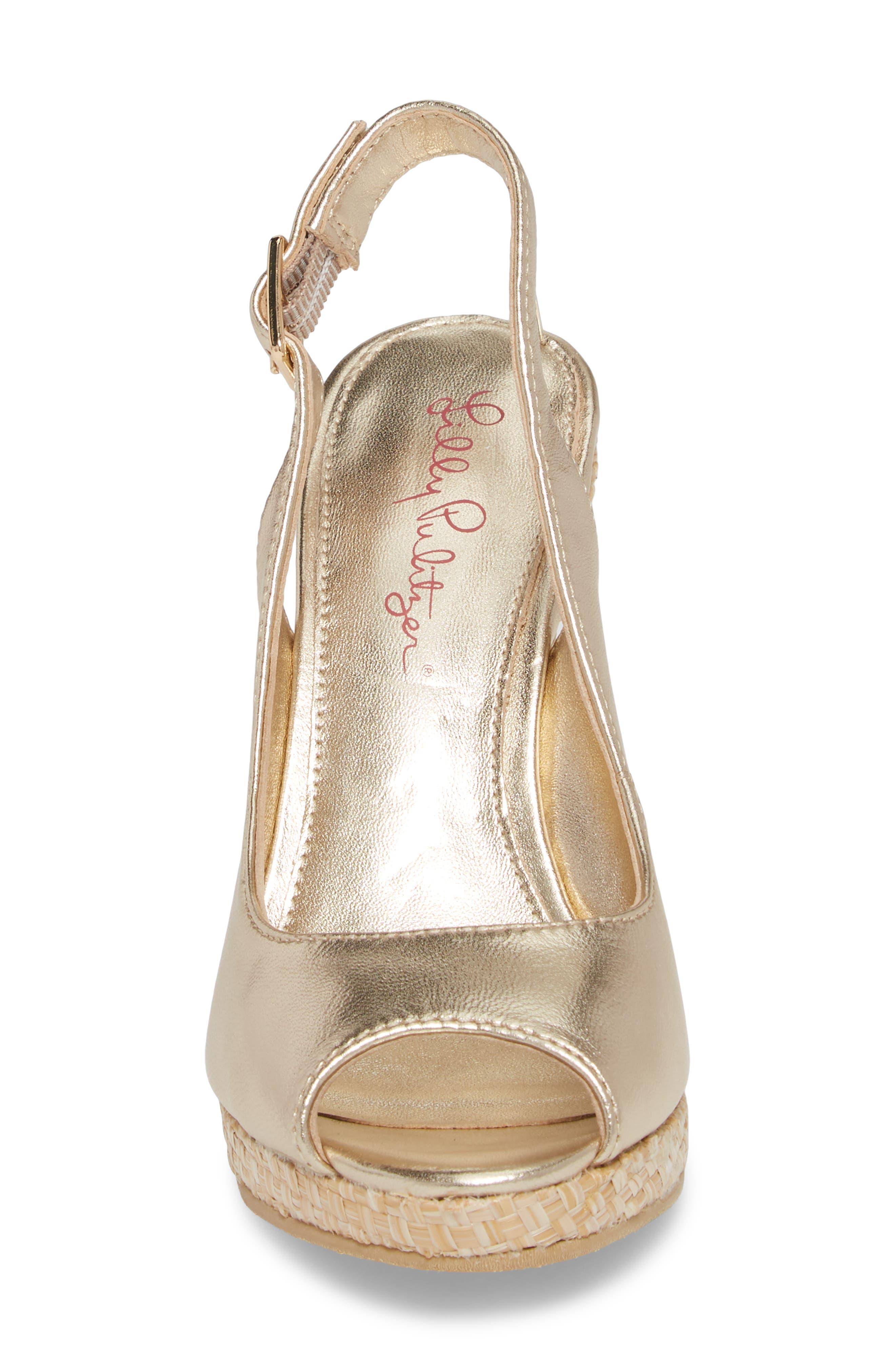 Kristin Slingback Wedge Sandal,                             Alternate thumbnail 4, color,                             GOLD METALLIC LEATHER