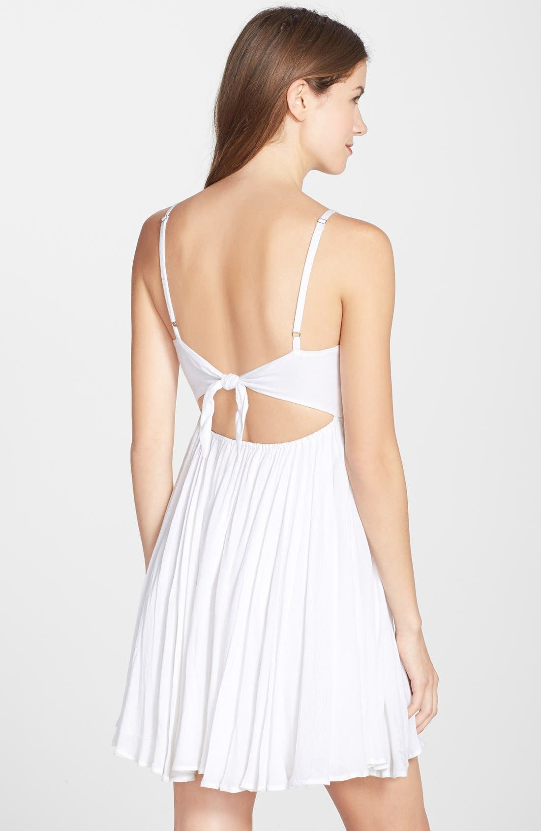 Embroidered Tie Back Dress,                             Alternate thumbnail 2, color,                             100