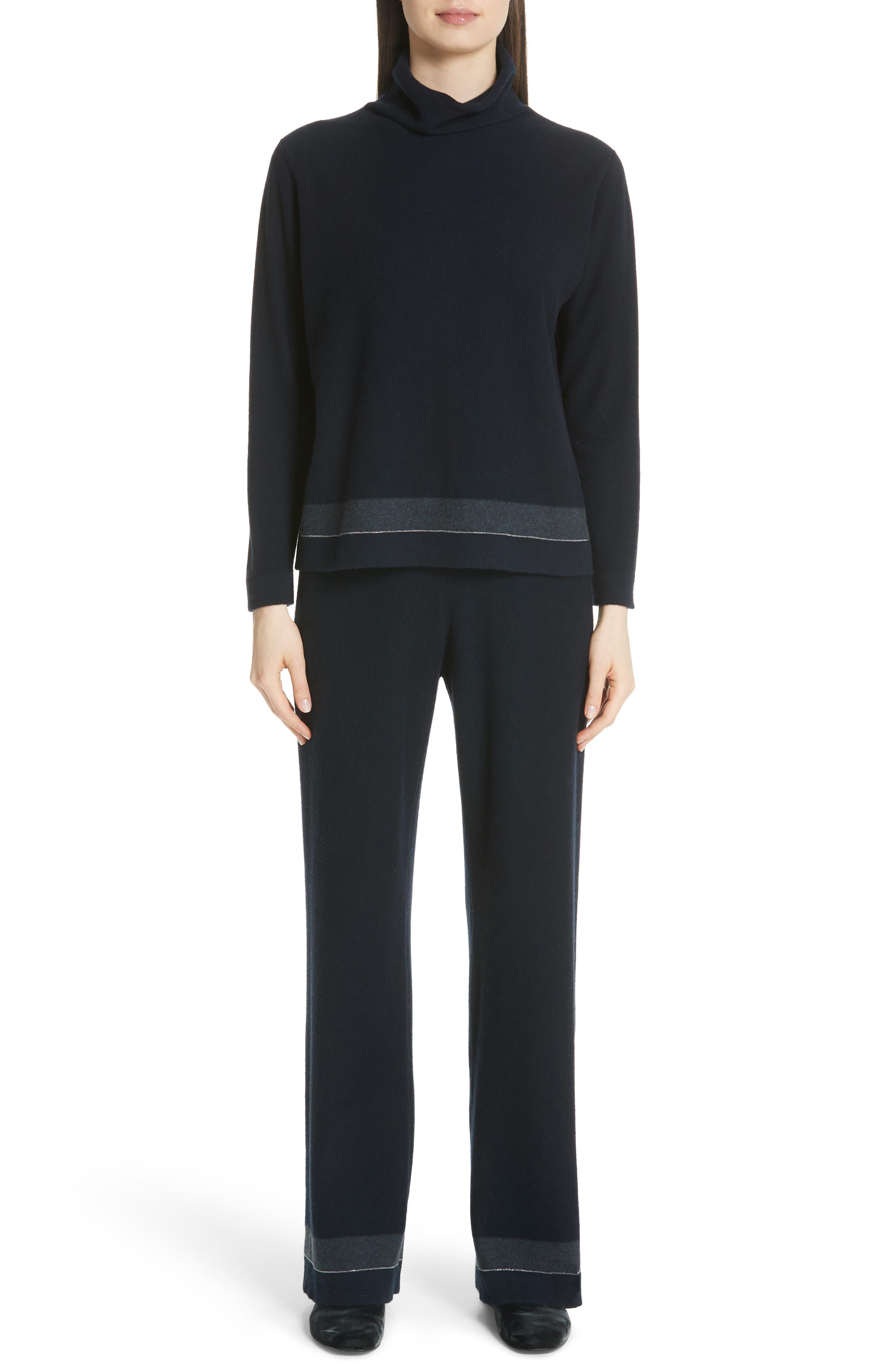 Bead Detail Cashmere Turtleneck Sweater,                             Alternate thumbnail 7, color,                             NIGHT BLUE