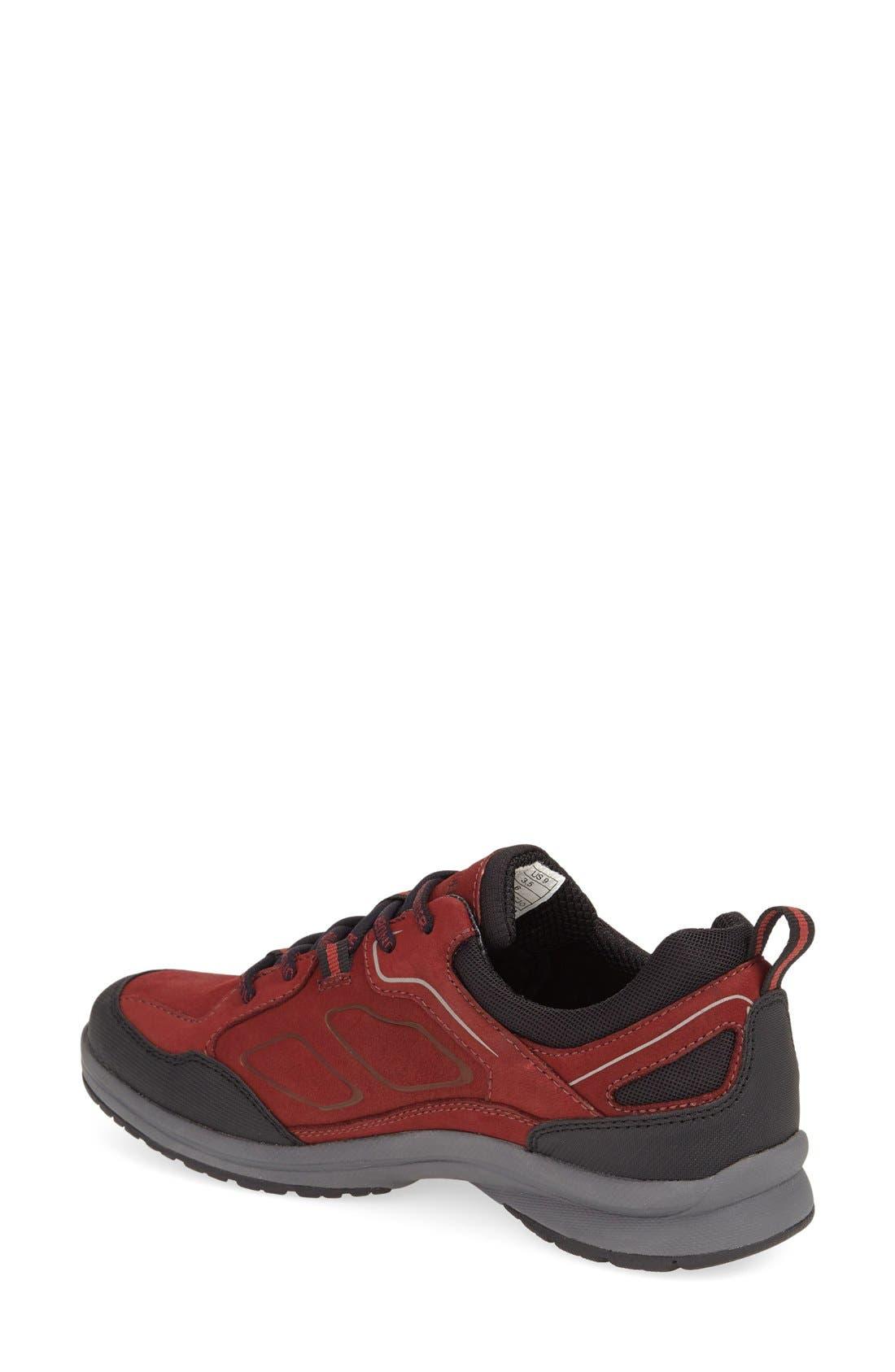 'Dascha Tex' Waterproof Sneaker,                             Alternate thumbnail 2, color,                             BLACK/ RED NUBUCK LEATHER